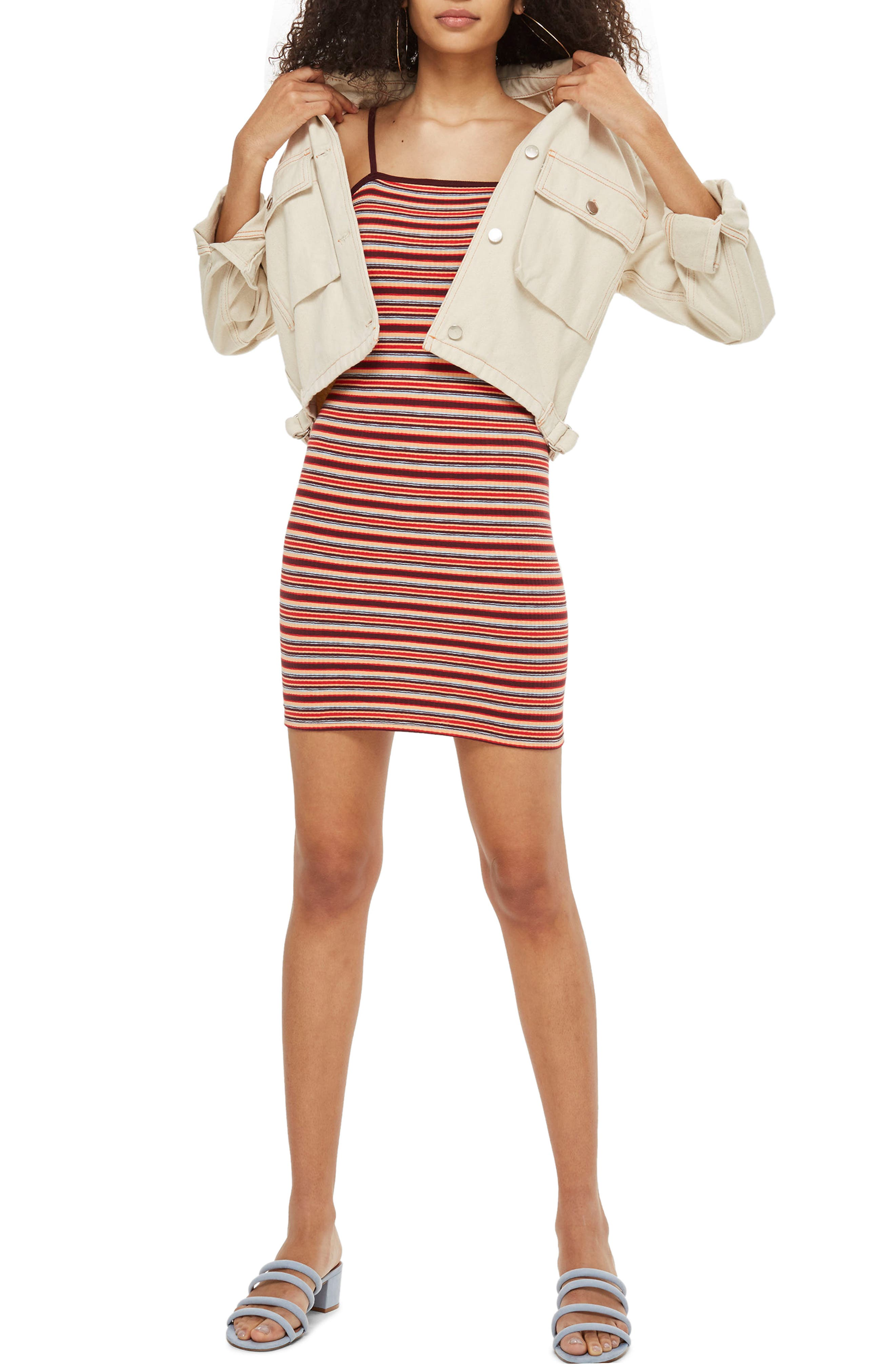 Stripe Body-Con Minidress,                             Main thumbnail 1, color,                             601