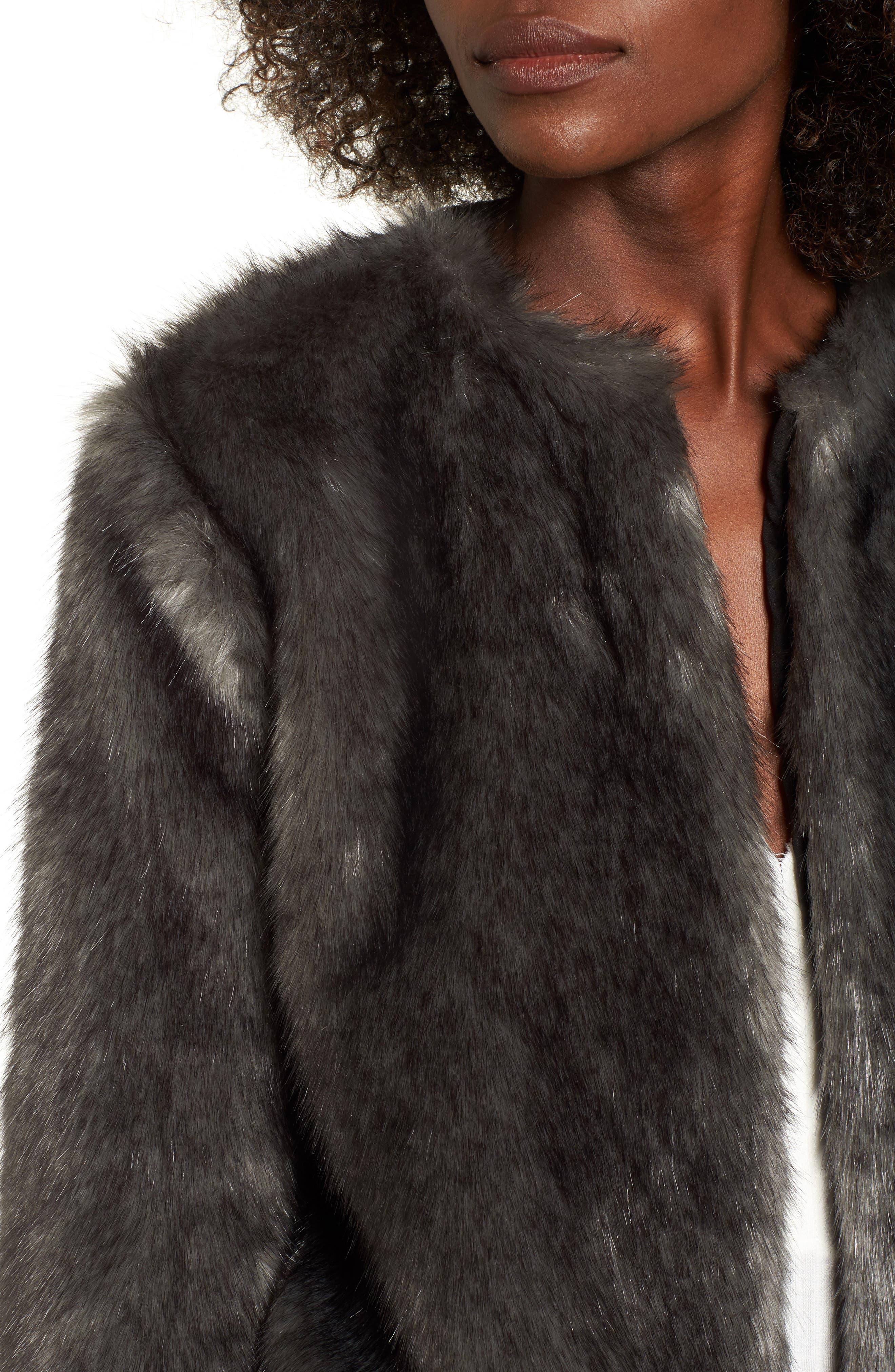 Faux Fur Jacket,                             Alternate thumbnail 4, color,                             020