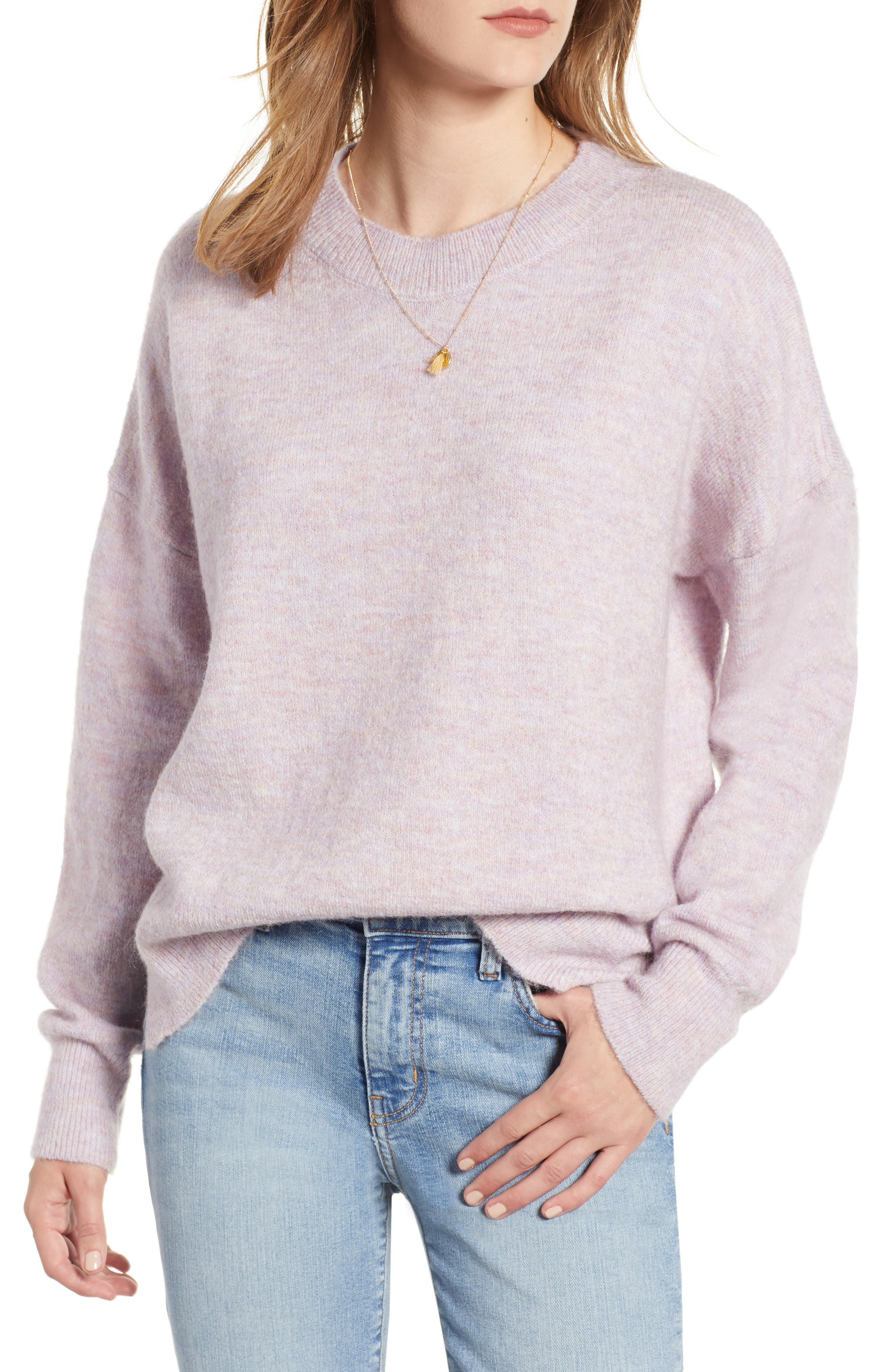 Crewneck Sweater,                             Main thumbnail 1, color,                             LILAC MELANGE