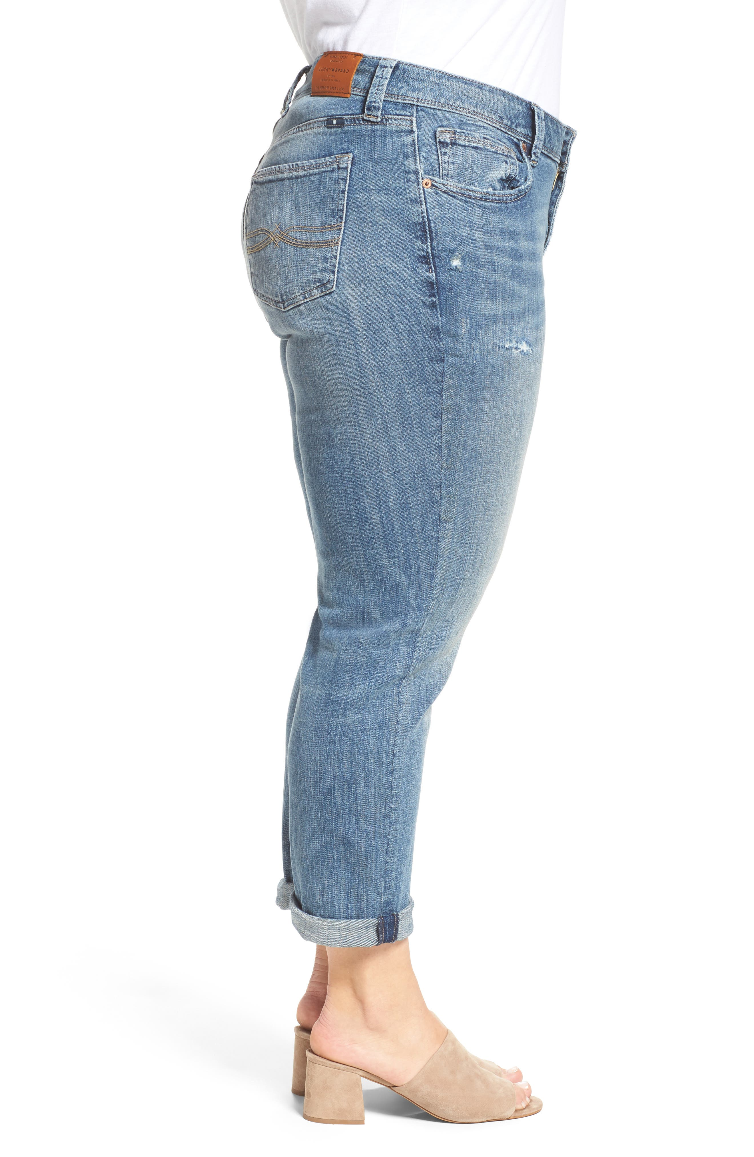 Reese Distressed Stretch Boyfriend Jeans,                             Alternate thumbnail 3, color,                             420
