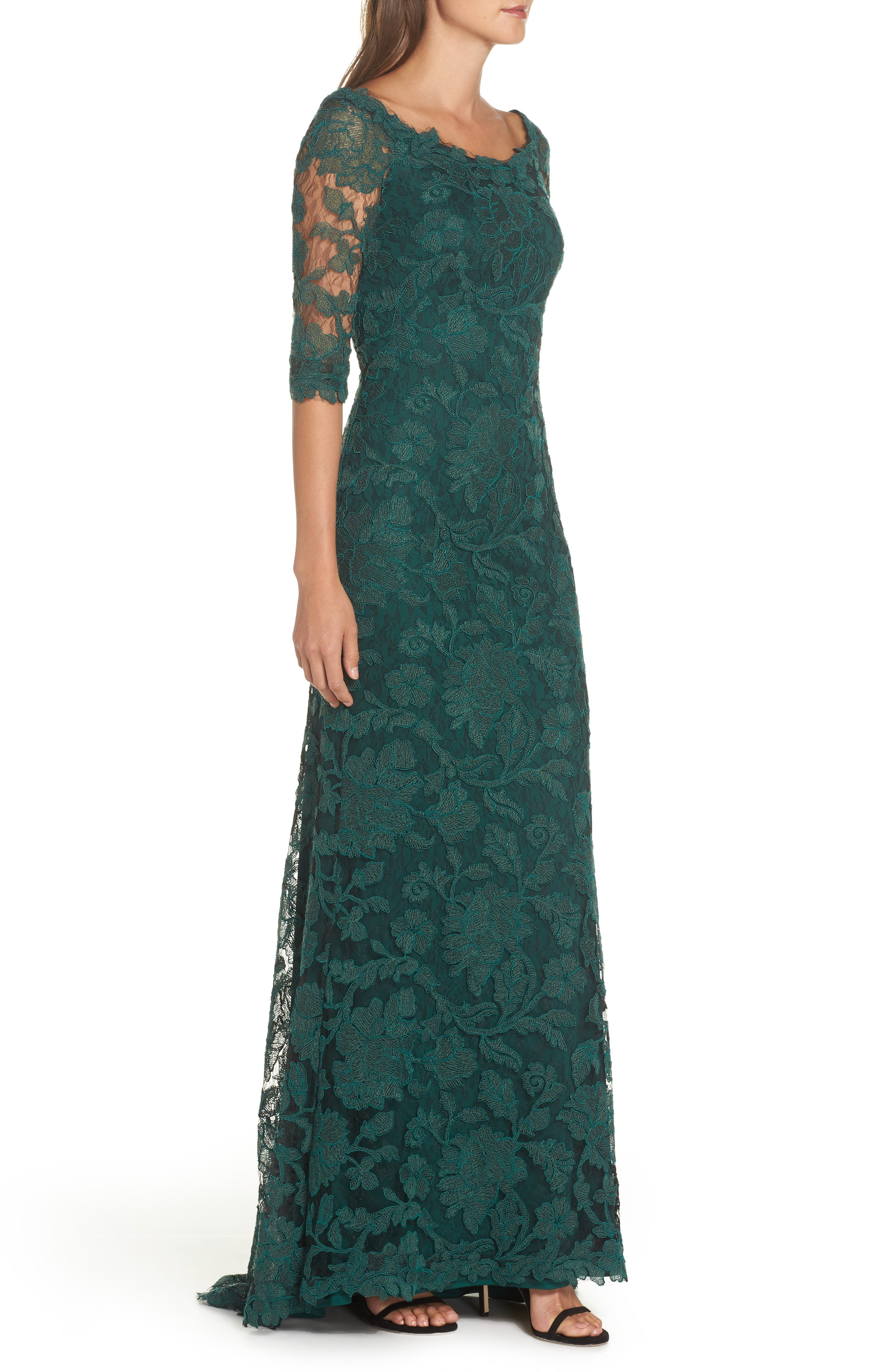Embroidered Boat Neck Mermaid Gown,                             Alternate thumbnail 3, color,                             SEAGRASS