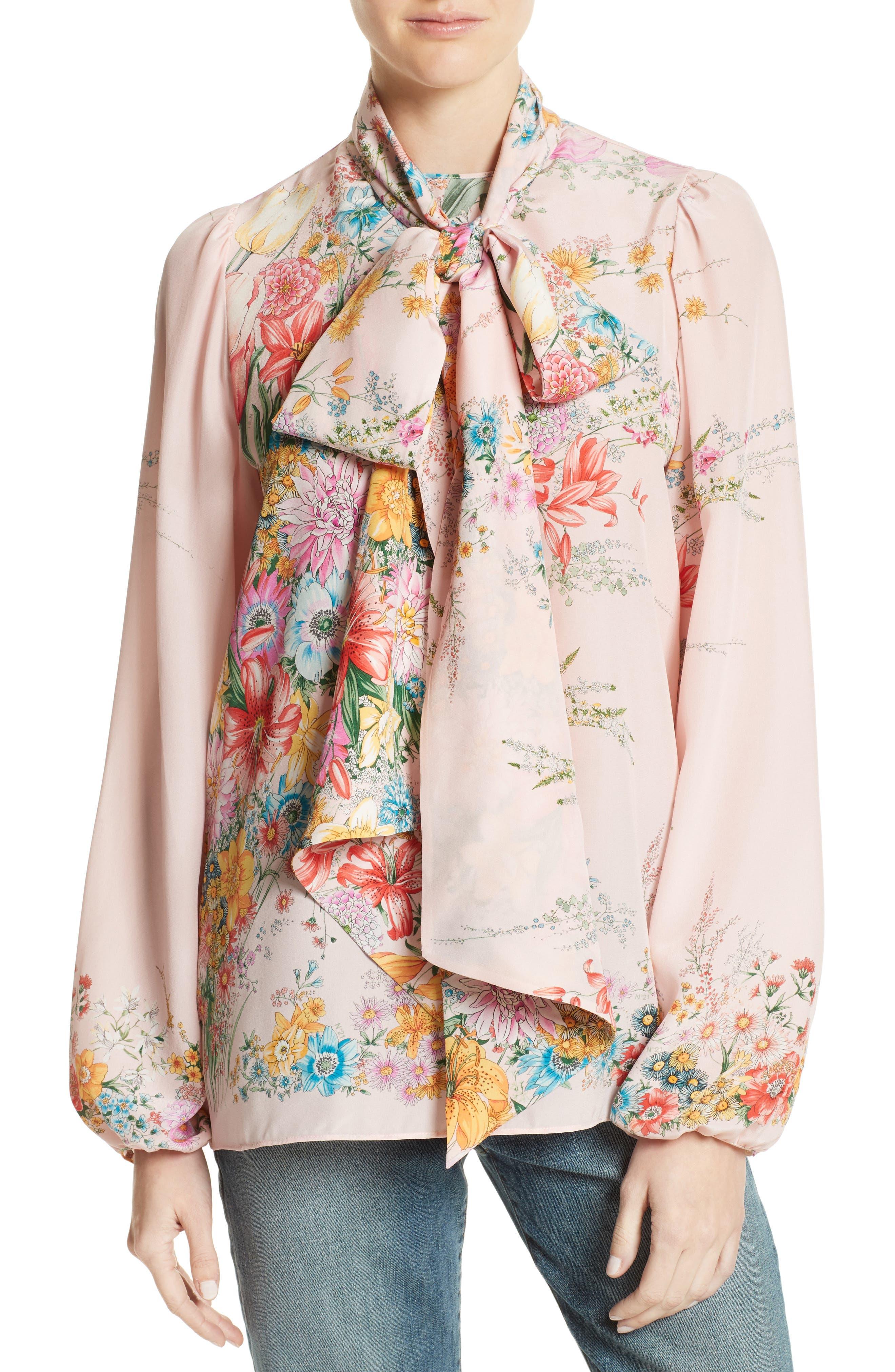 Floral Print Tie Neck Silk Shirt,                             Main thumbnail 1, color,                             100