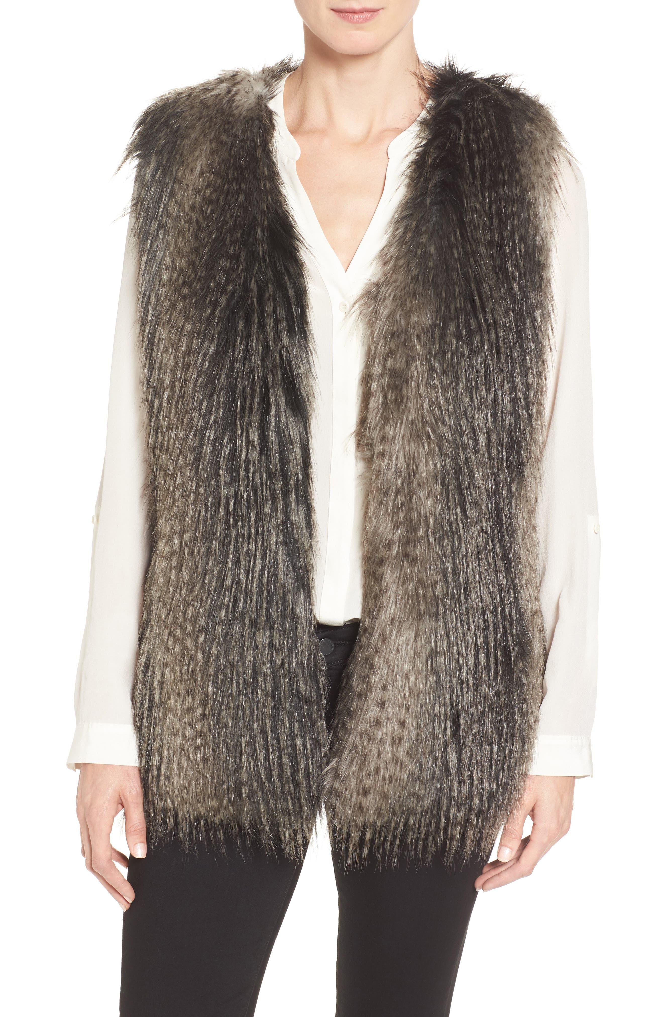 Collarless Faux Fur Vest,                         Main,                         color, 001