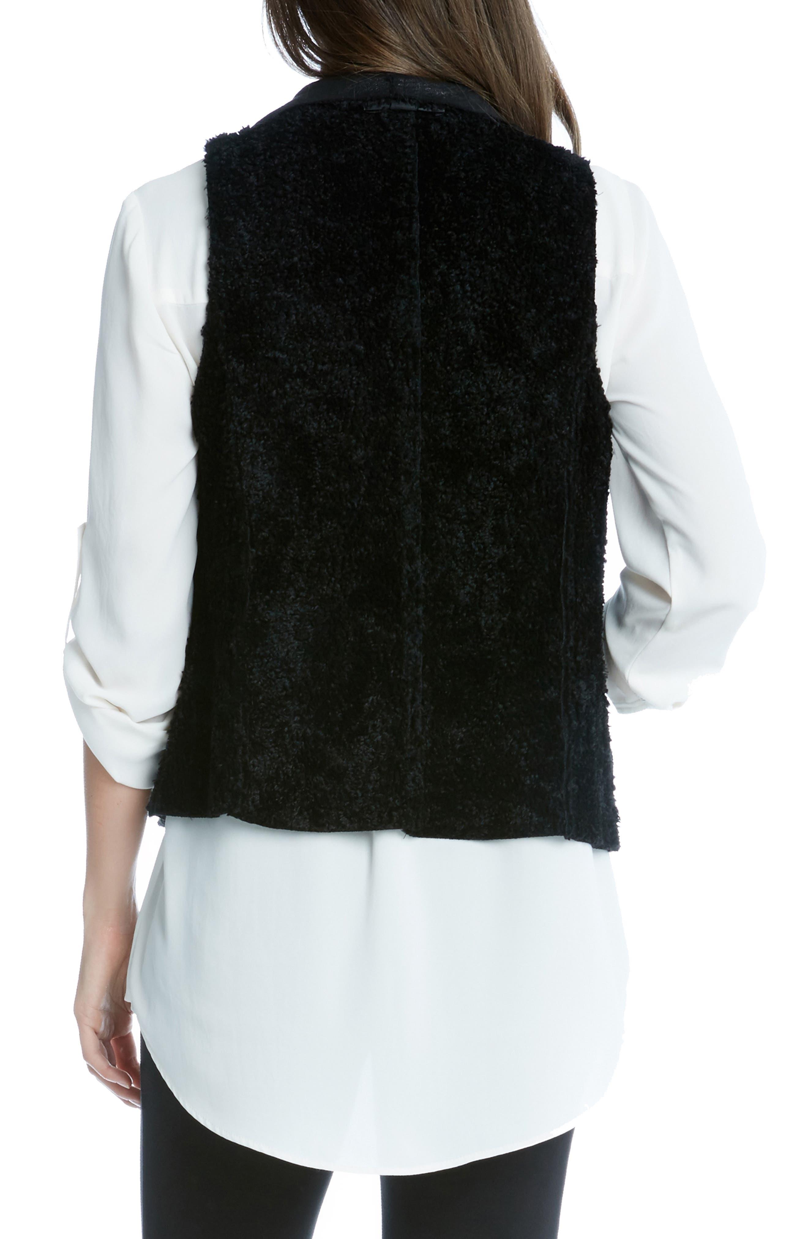 Reversible Faux Fur Vest,                             Alternate thumbnail 2, color,                             BLACK