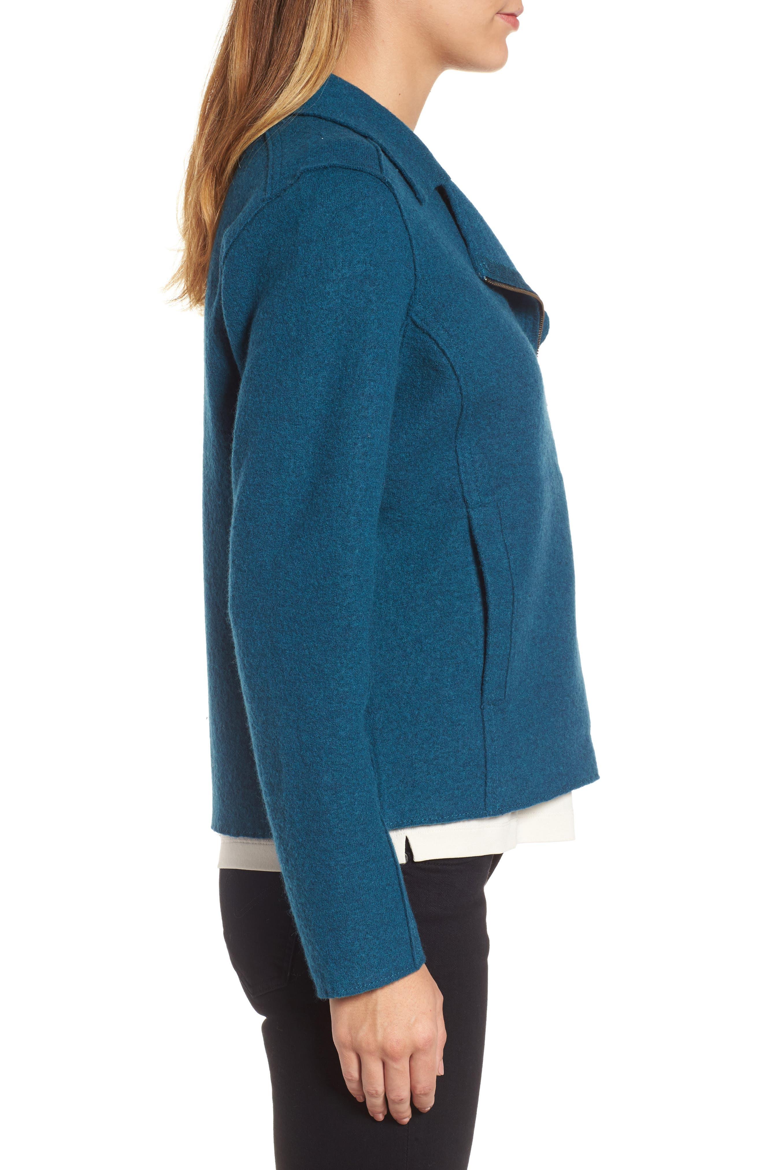 Boiled Wool Moto Jacket,                             Alternate thumbnail 11, color,