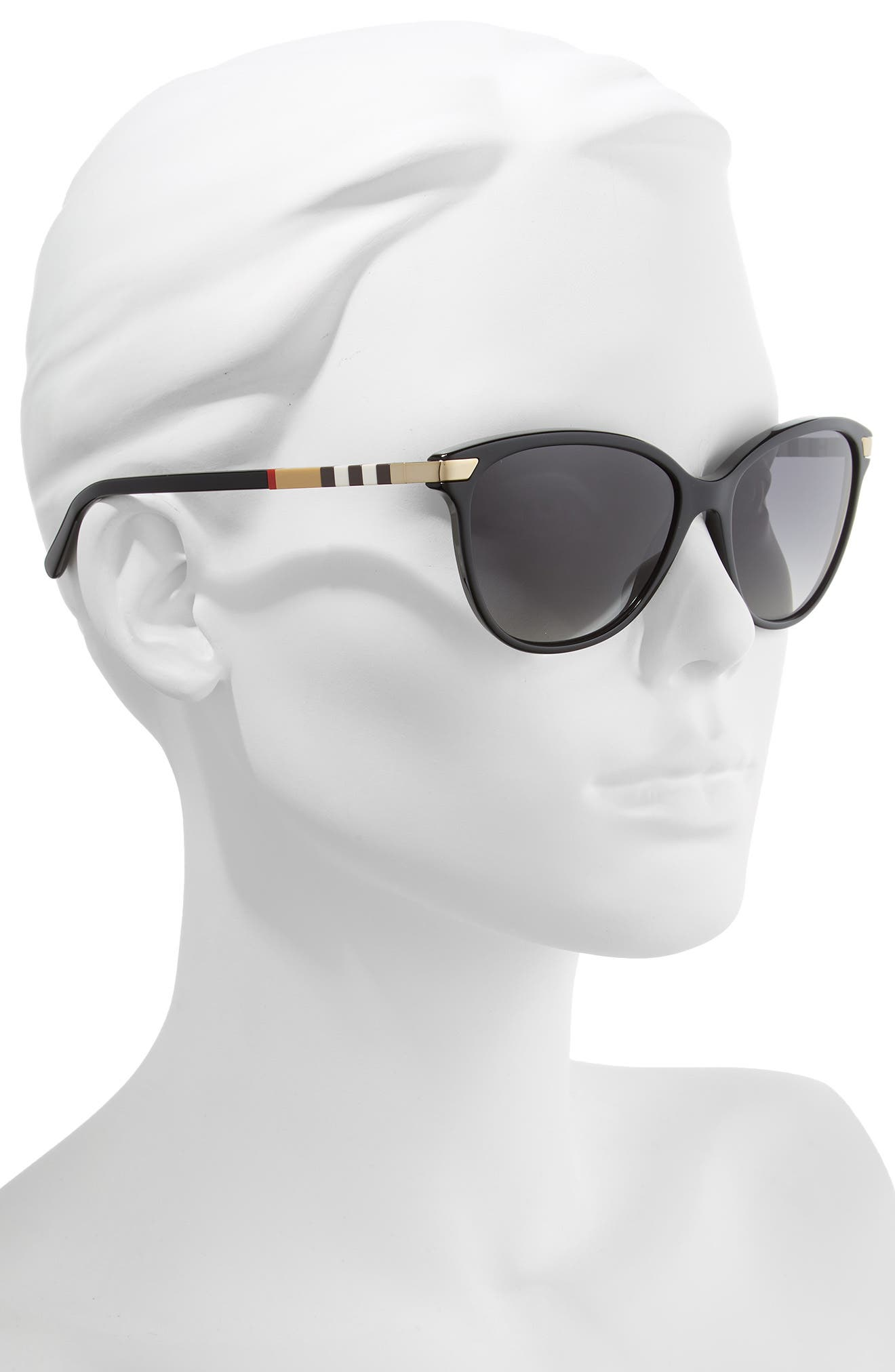 Check 57mm Polarized Gradient Cat Eye Sunglasses,                             Alternate thumbnail 2, color,                             BLACK/ BLACK GRADIENT