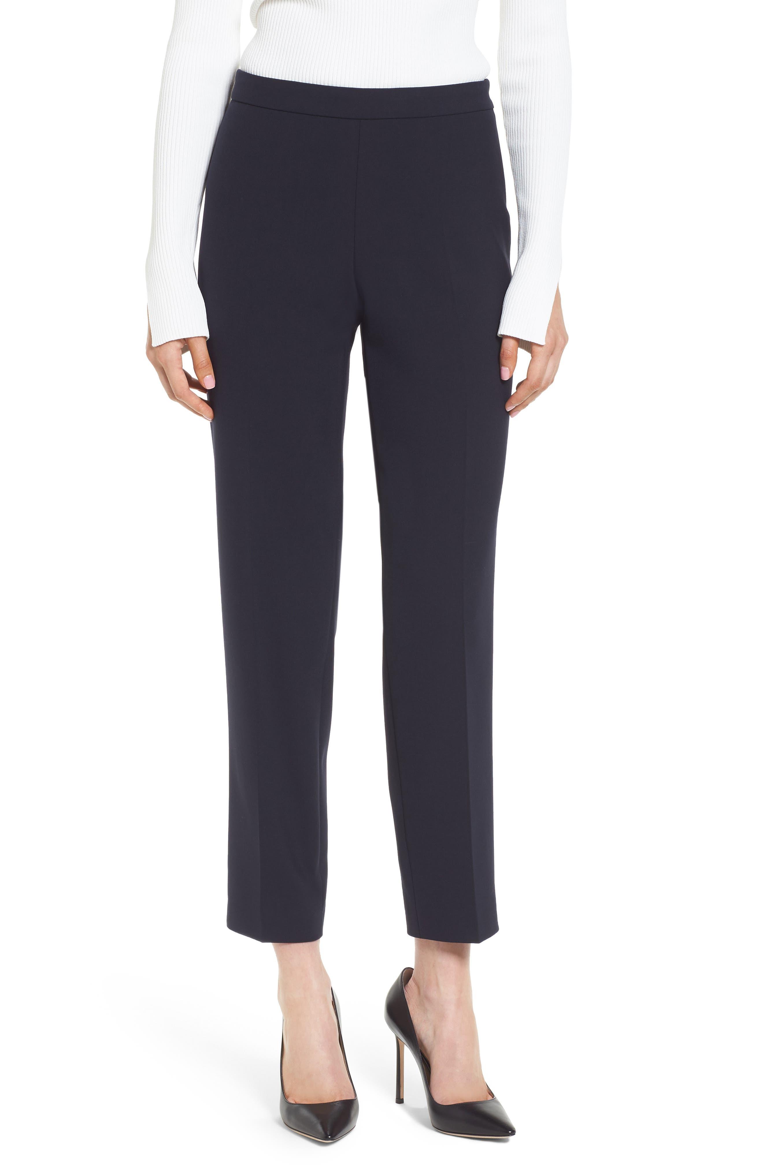 Tiluna Side Zip Ponte Ankle Pants,                         Main,                         color, NAVY