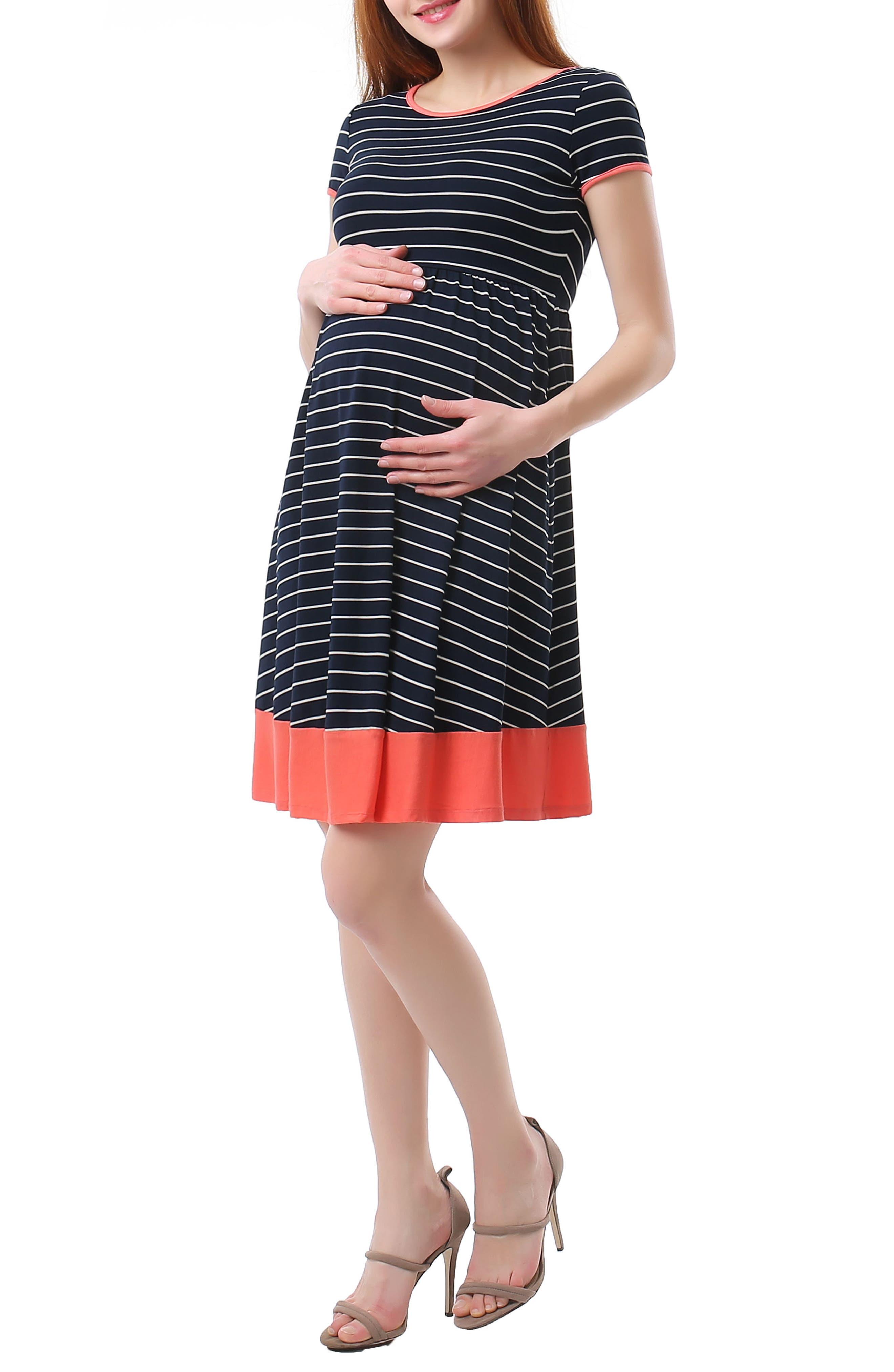 Kira Stripe Maternity Skater Dress,                             Alternate thumbnail 5, color,