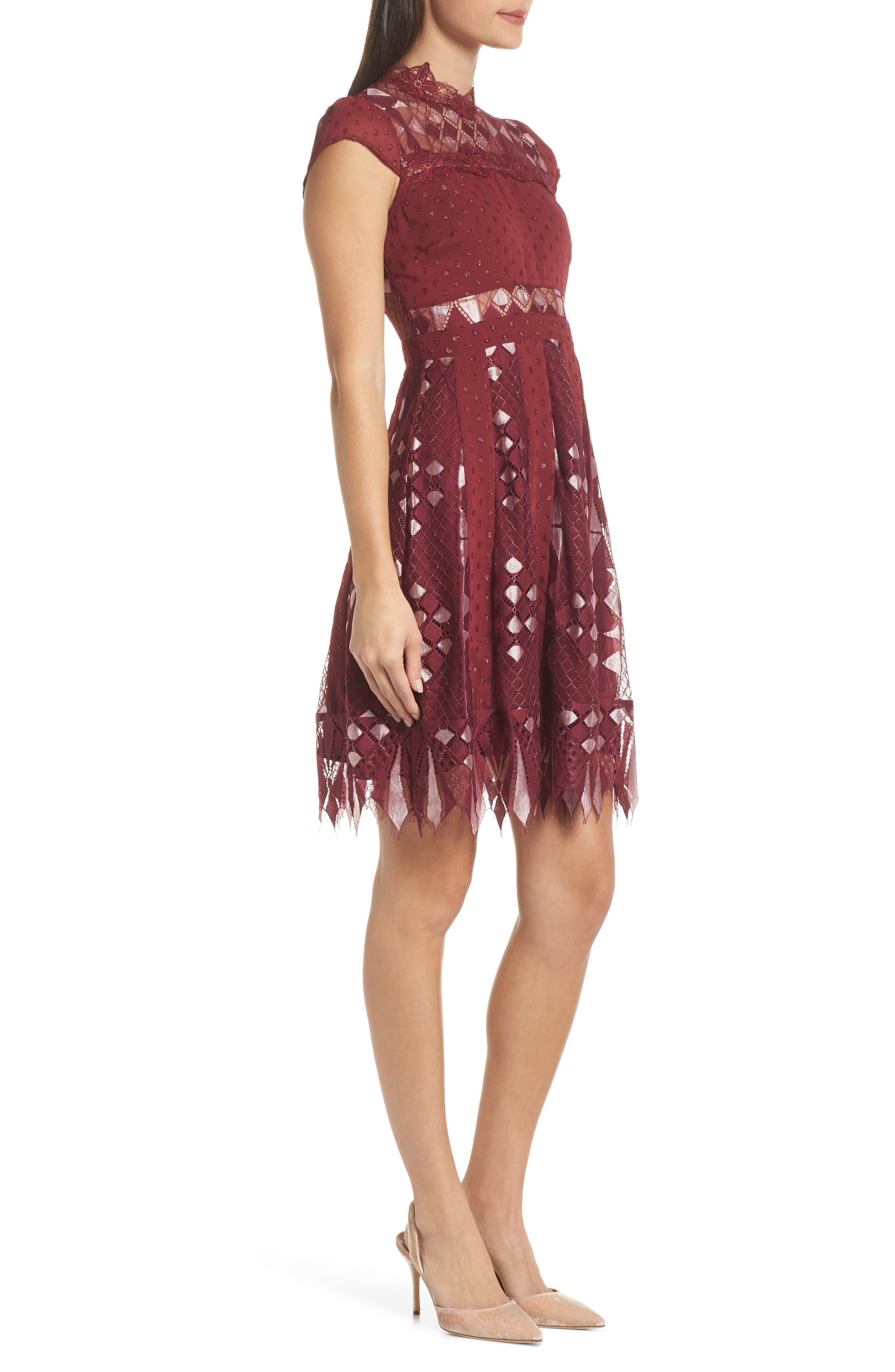 Bravo Zulu Fit & Flare Dress,                             Alternate thumbnail 3, color,                             WINE METALLIC