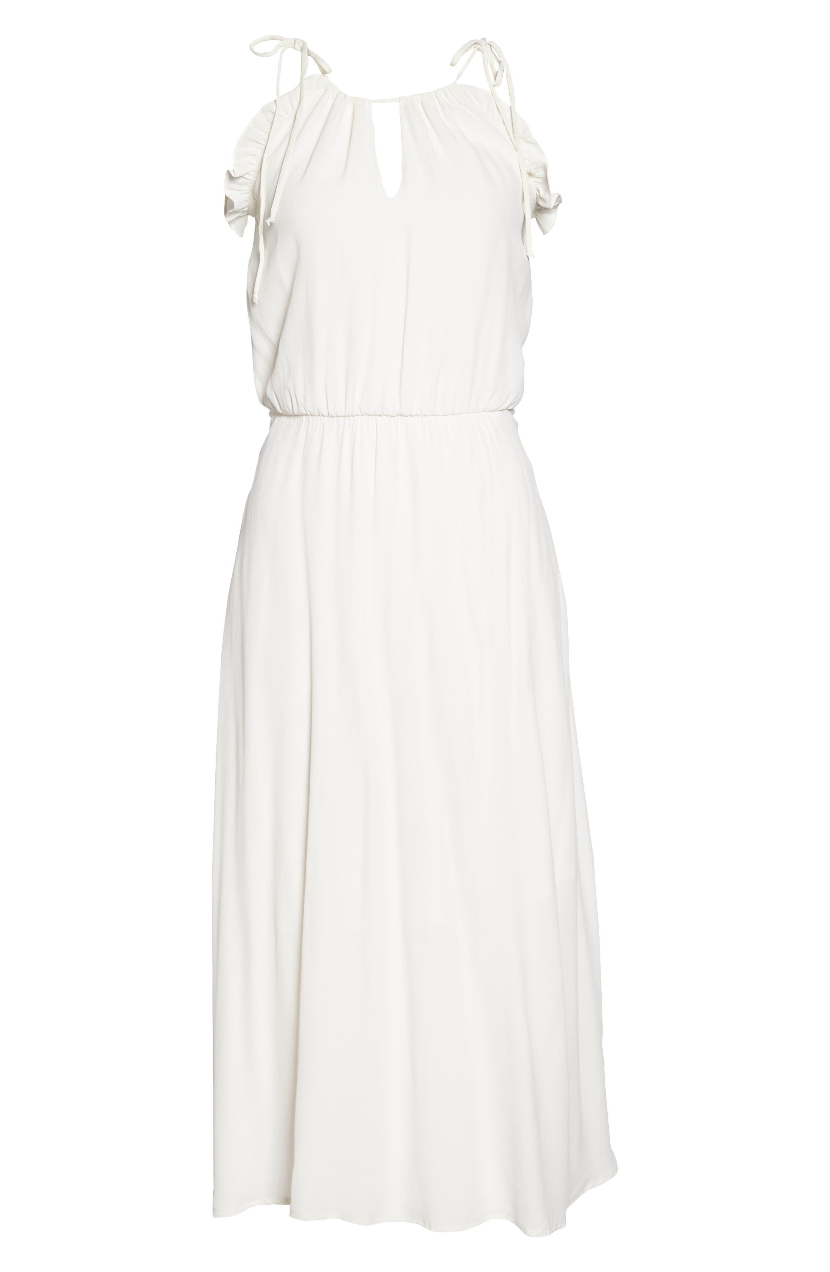 Ruffle Midi Dress,                             Alternate thumbnail 7, color,                             OFF WHITE