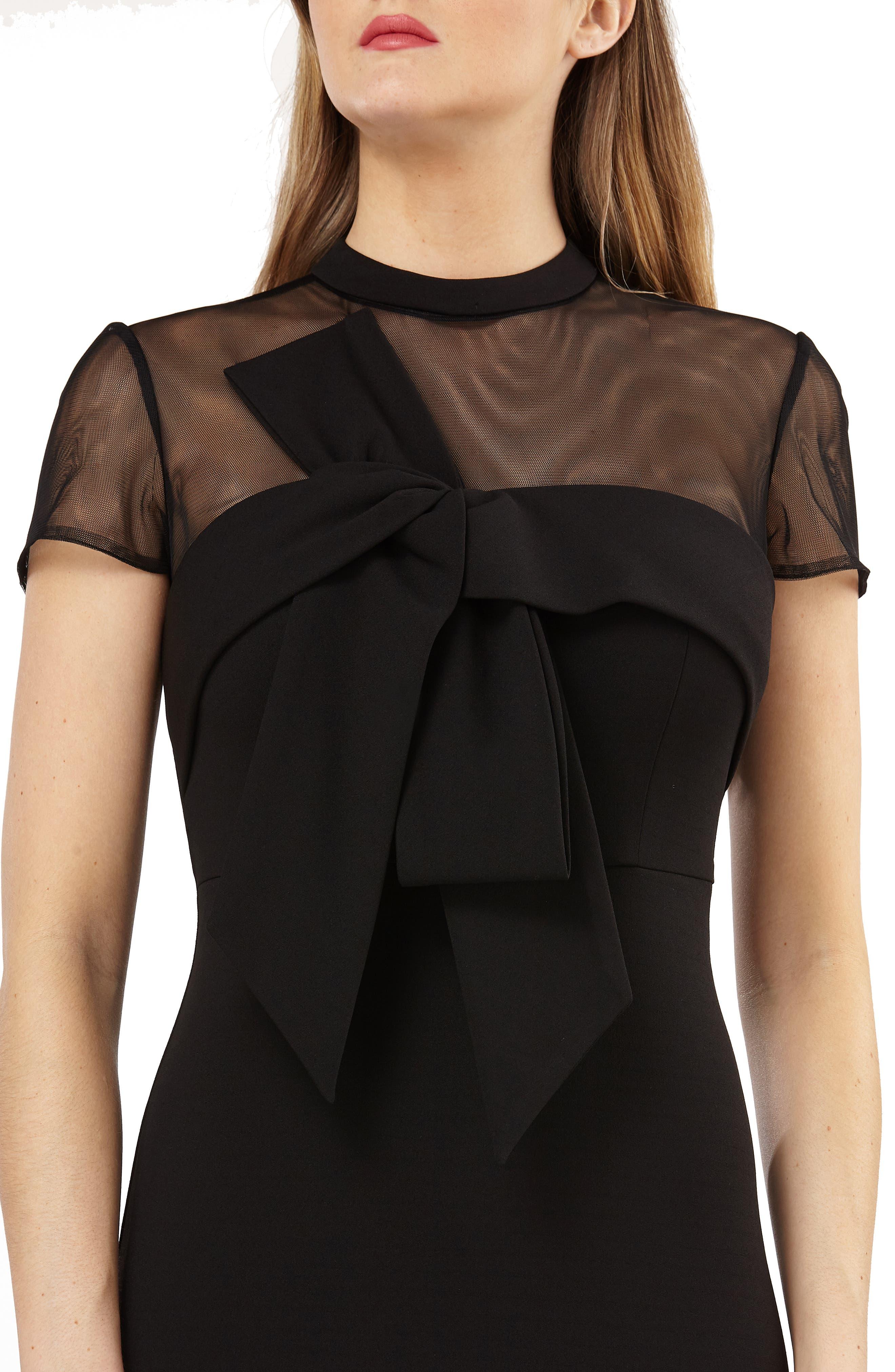 Stretch Crepe Midi Dress,                             Alternate thumbnail 4, color,                             BLACK