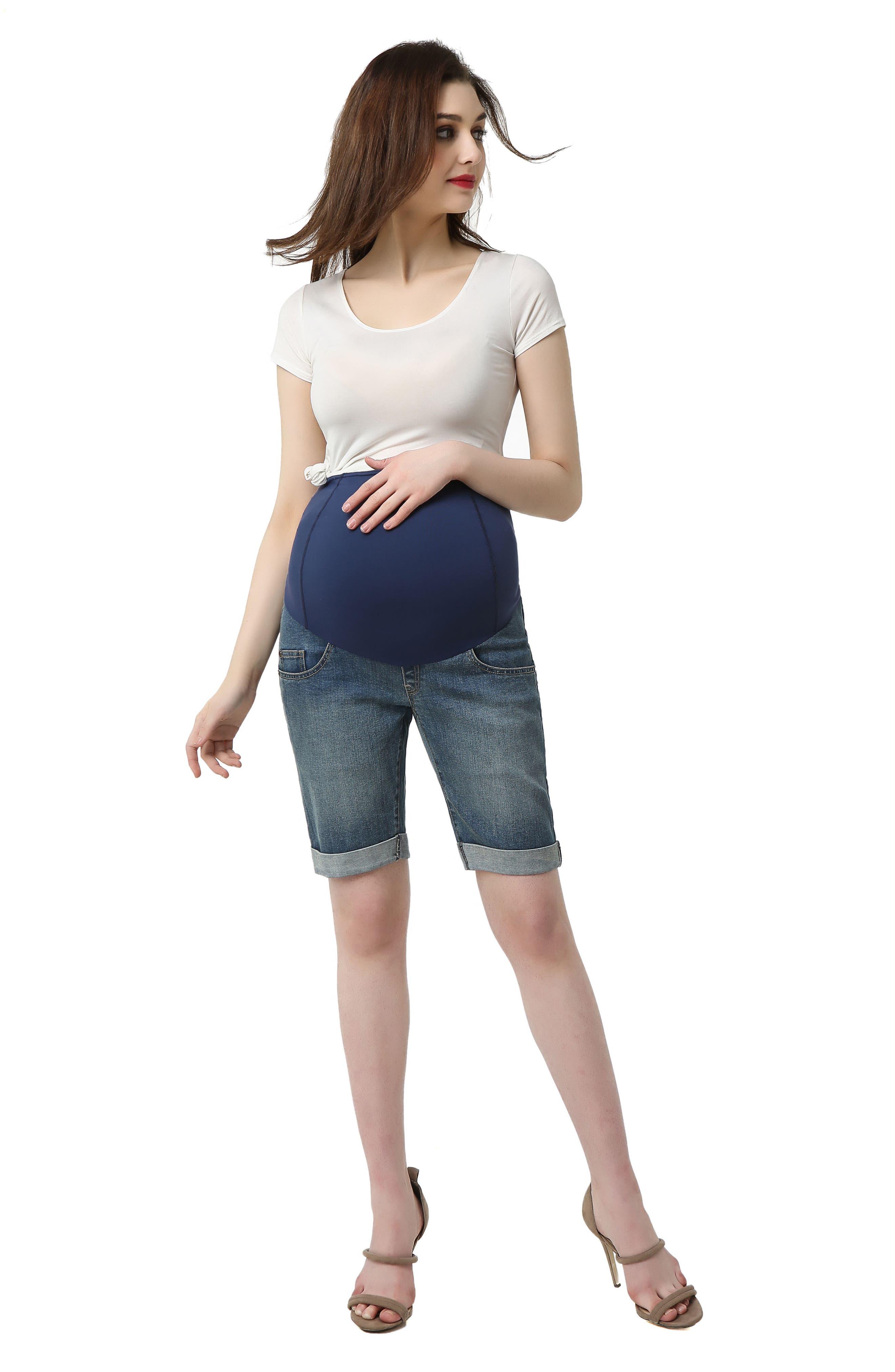 Abbie Denim Stretch Maternity Shorts,                             Alternate thumbnail 3, color,                             MEDIUM INDIGO