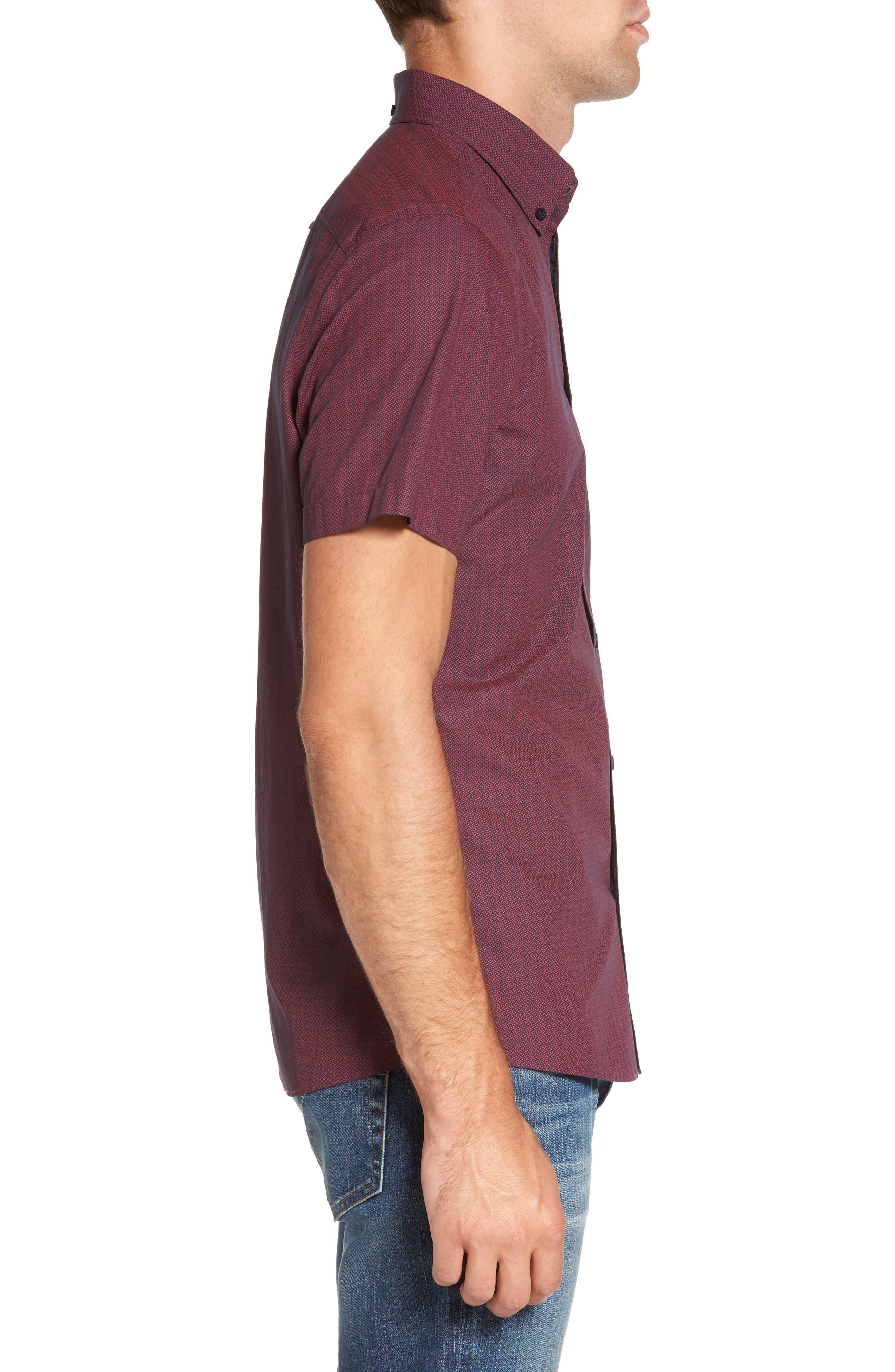 Slim Fit Print Sport Shirt,                             Alternate thumbnail 3, color,                             601