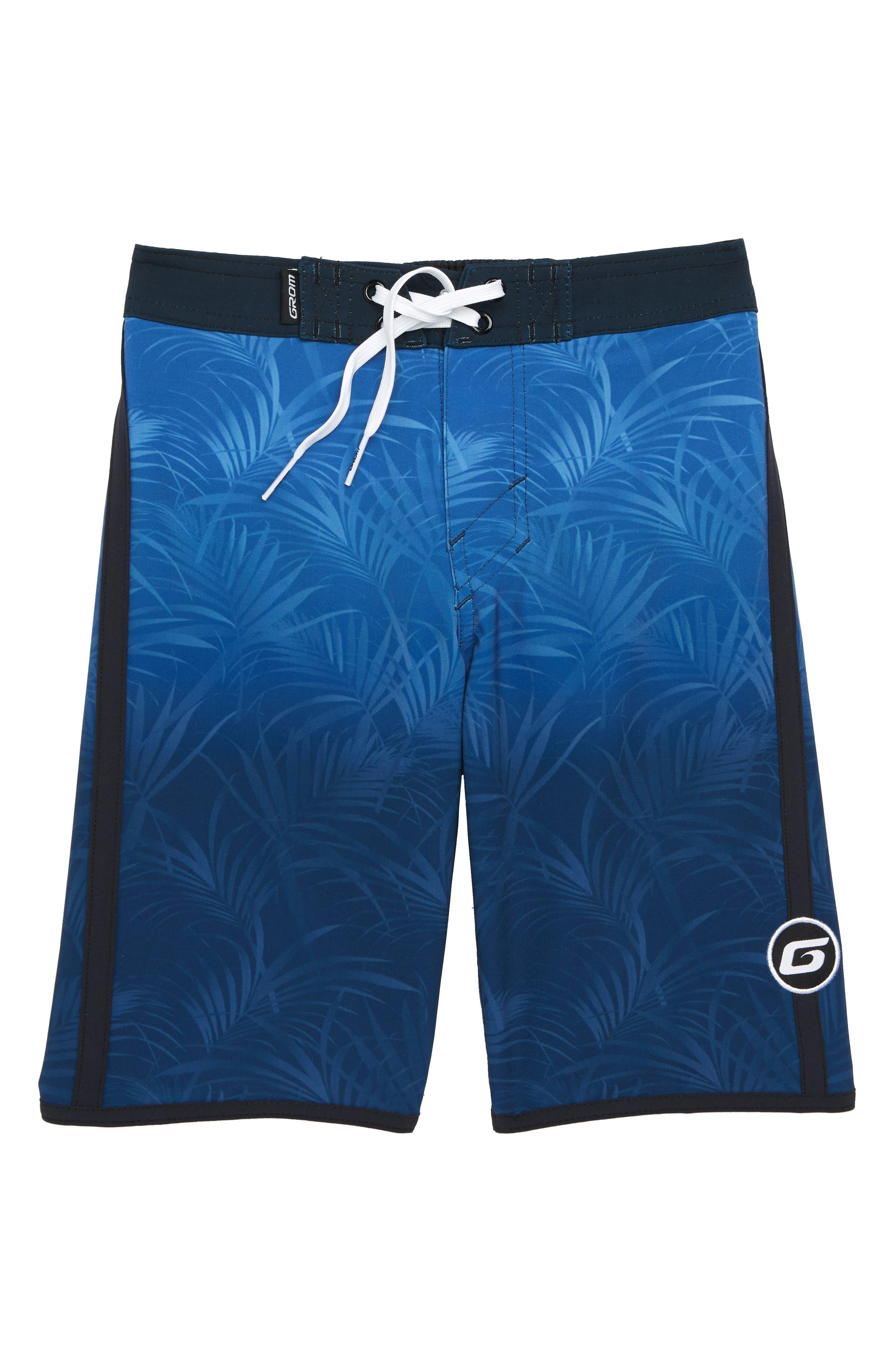 Palm Fade Board Shorts,                         Main,                         color, BLUE