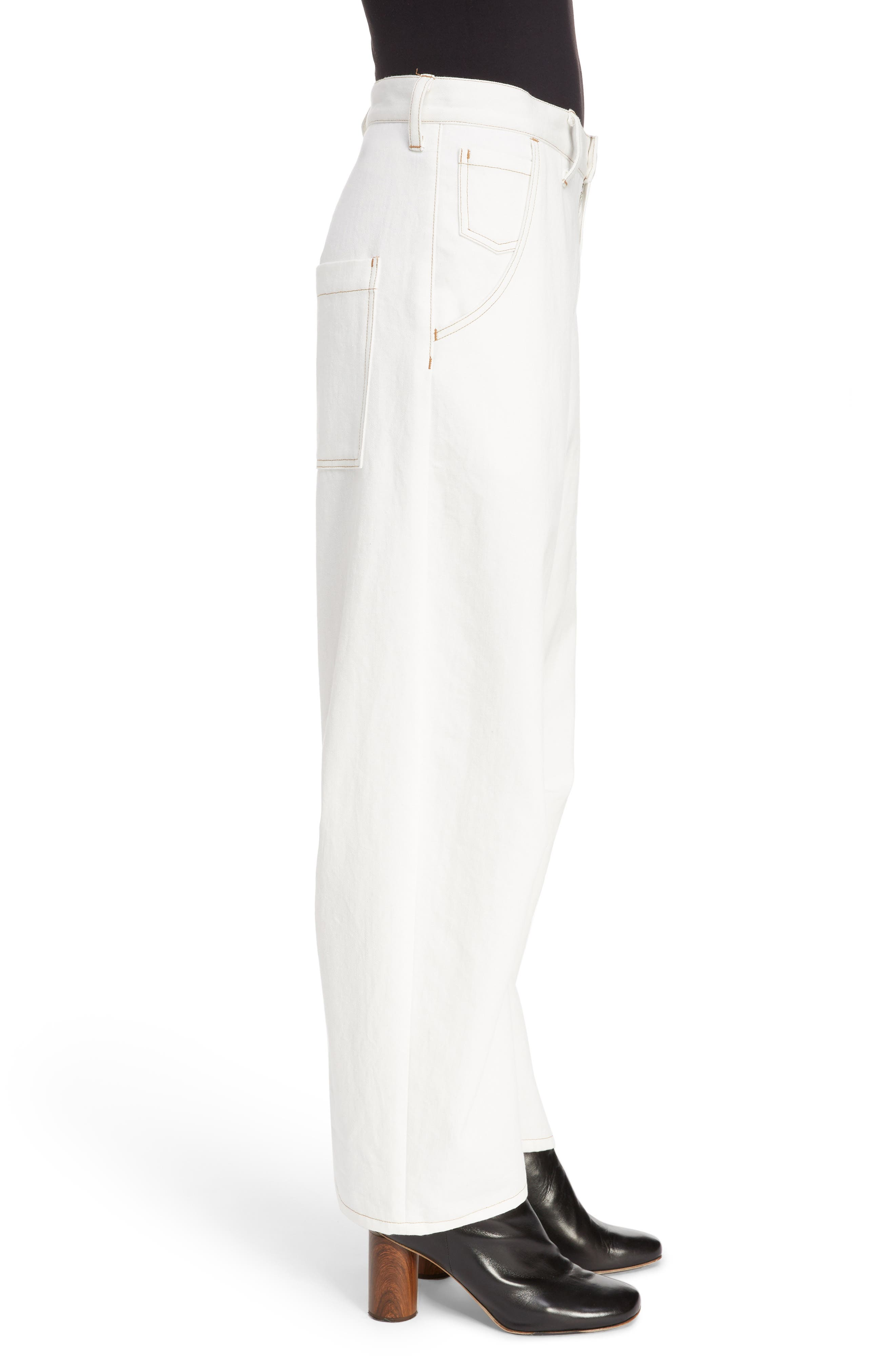 Wide Leg Pants,                             Alternate thumbnail 3, color,                             WHITE