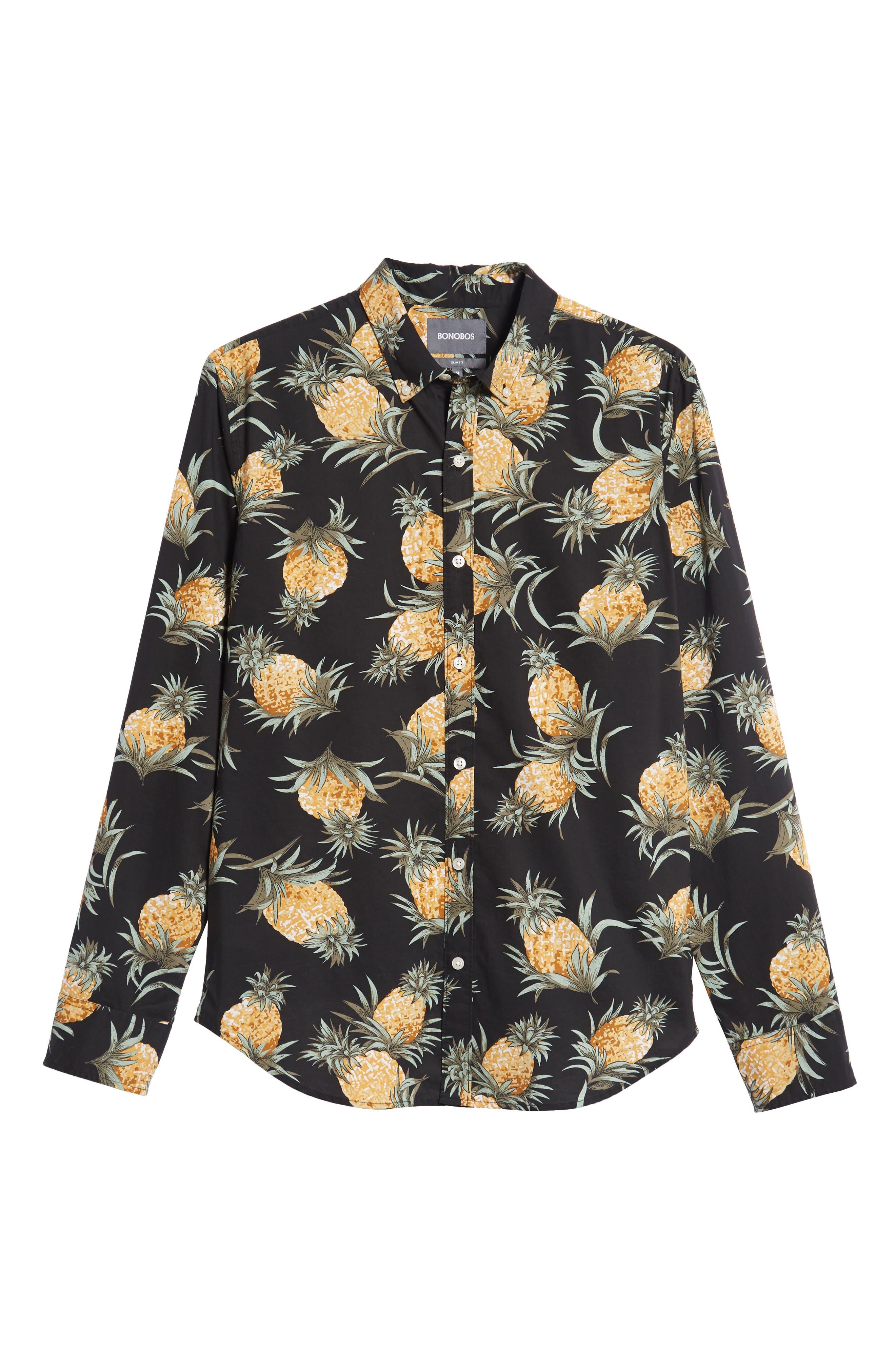 Summerweight Slim Fit Pineapple Print Sport Shirt,                             Alternate thumbnail 5, color,                             PINEAPPLES - JET BLACK