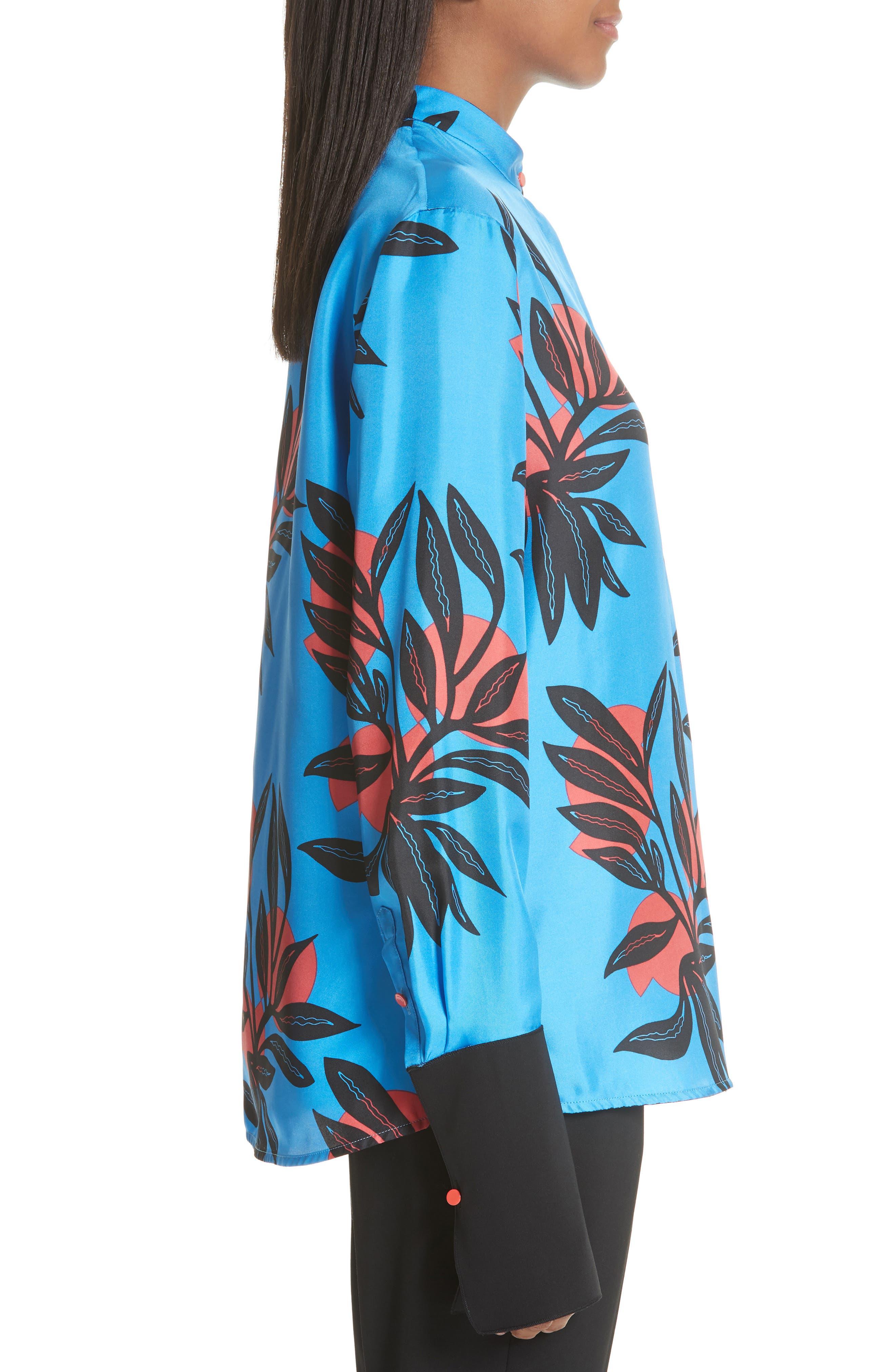 Imani Floral Print Silk Shirt,                             Alternate thumbnail 3, color,