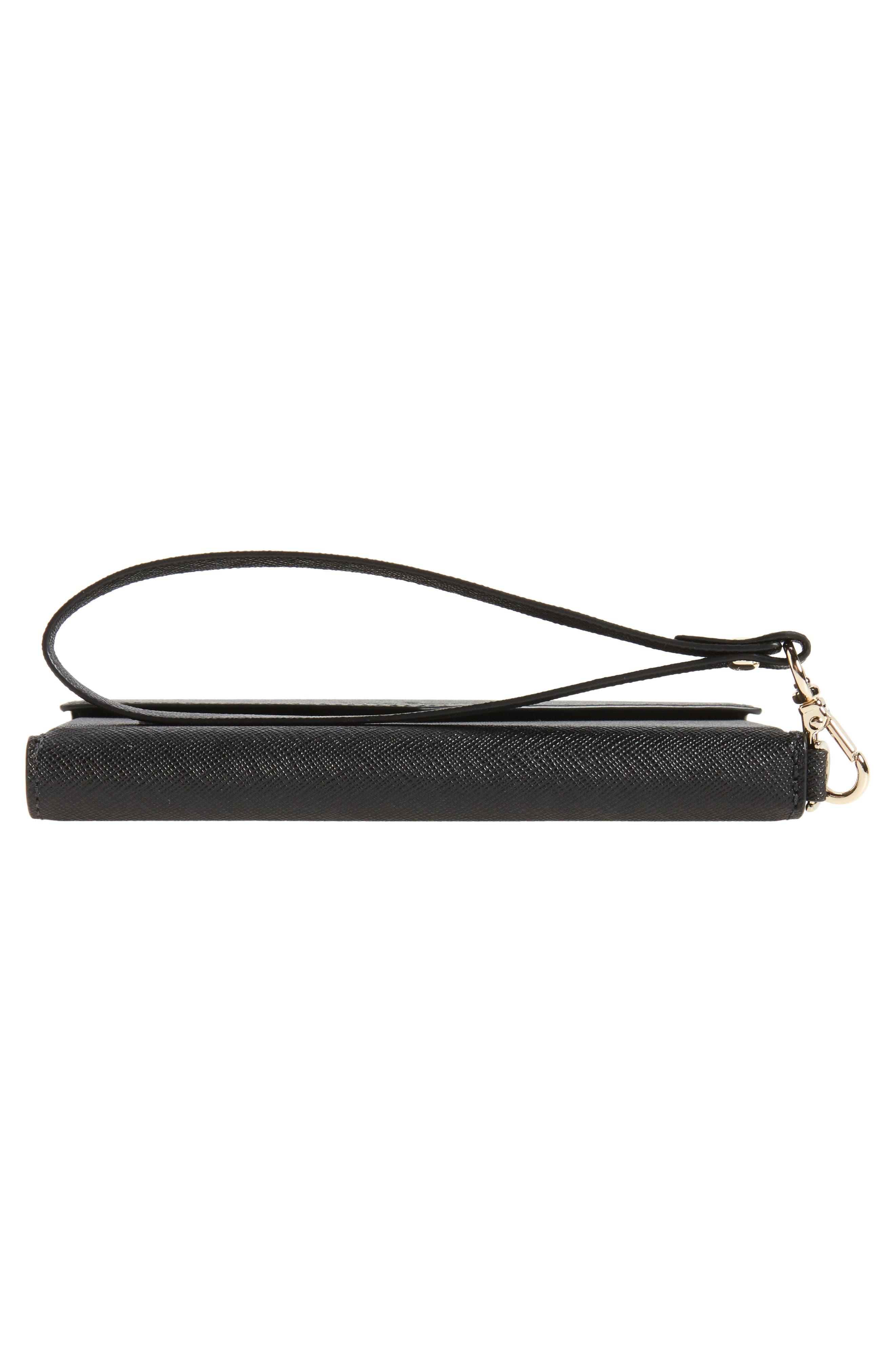 iPhone 7/8 & 7/8 Plus leather wristlet,                             Alternate thumbnail 6, color,                             BLACK