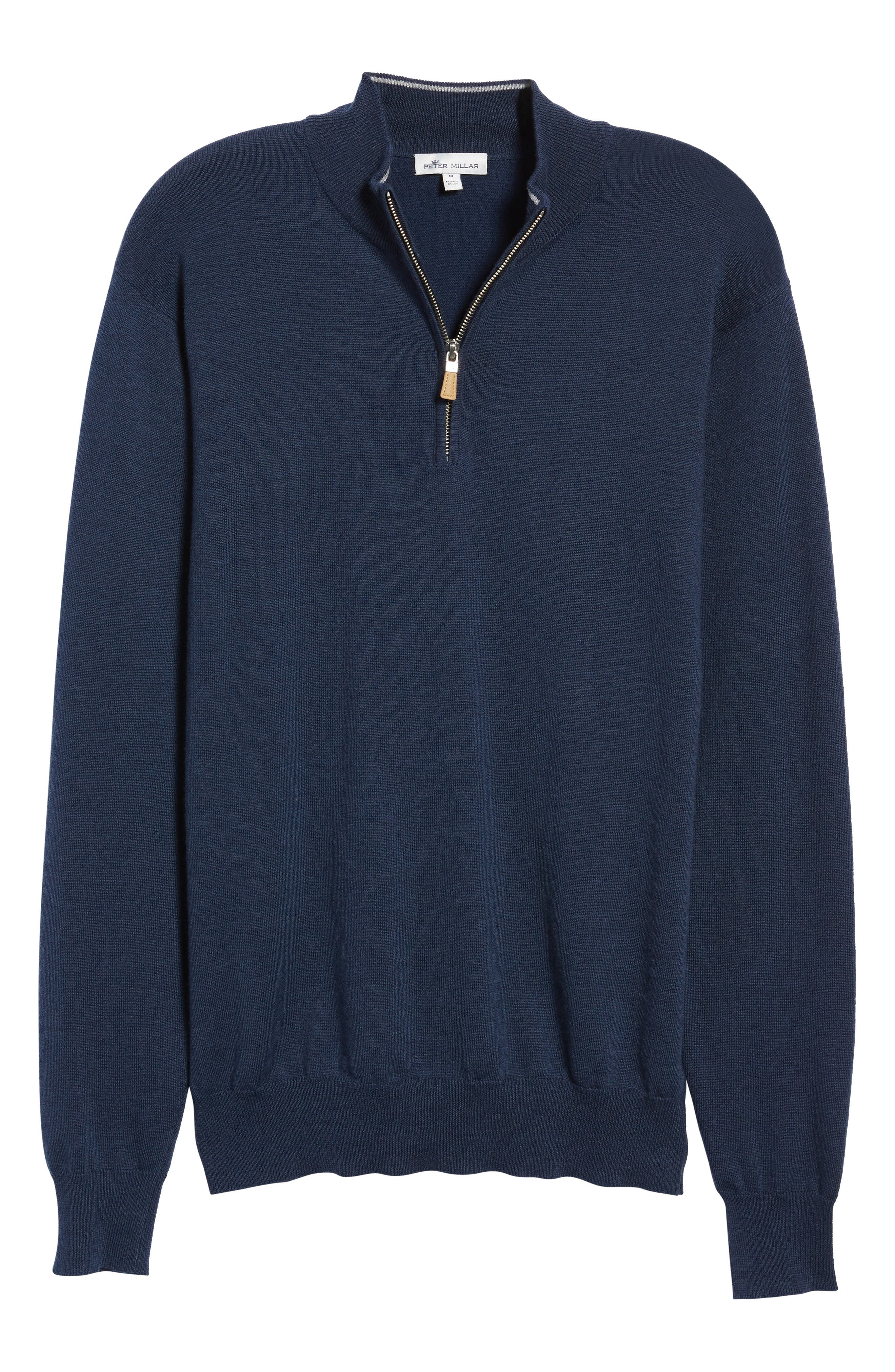 PETER MILLAR,                             Regular Fit Half Zip Wool & Linen Pullover,                             Alternate thumbnail 6, color,                             410