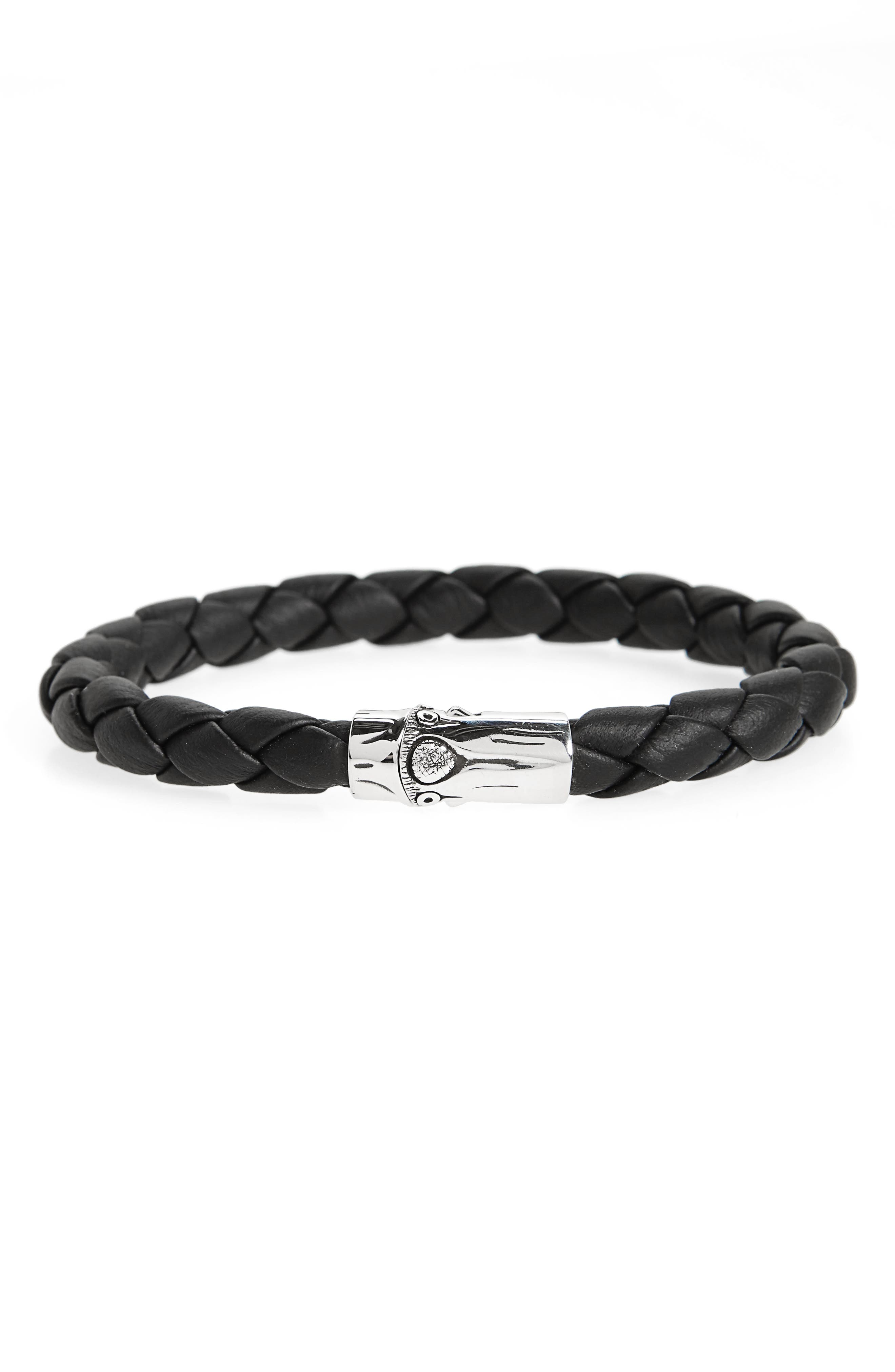 Bamboo Braided Leather Bracelet,                         Main,                         color, SILVER/ BLACK