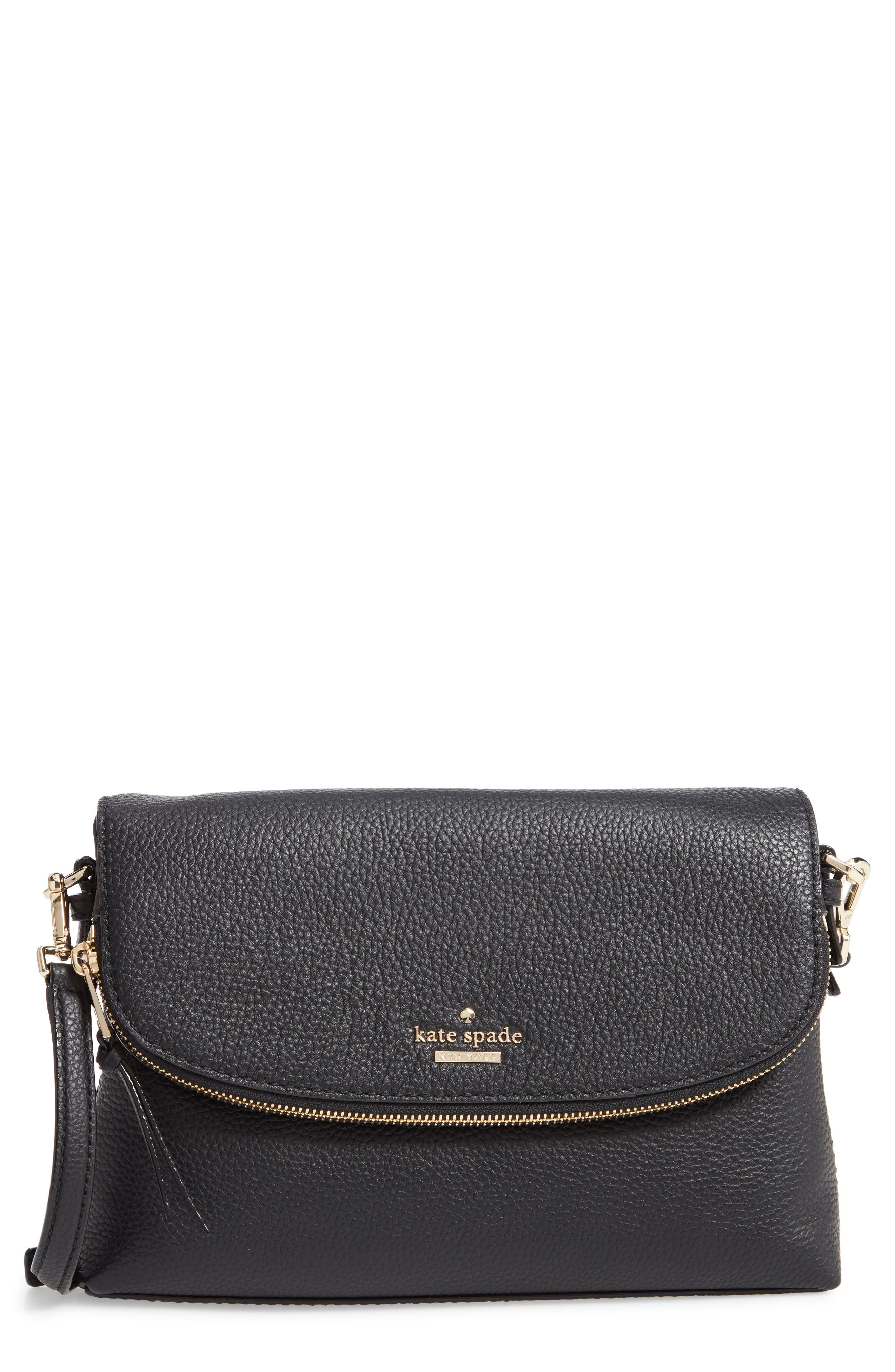 jackson street - harlyn leather crossbody bag,                             Main thumbnail 1, color,                             BLACK