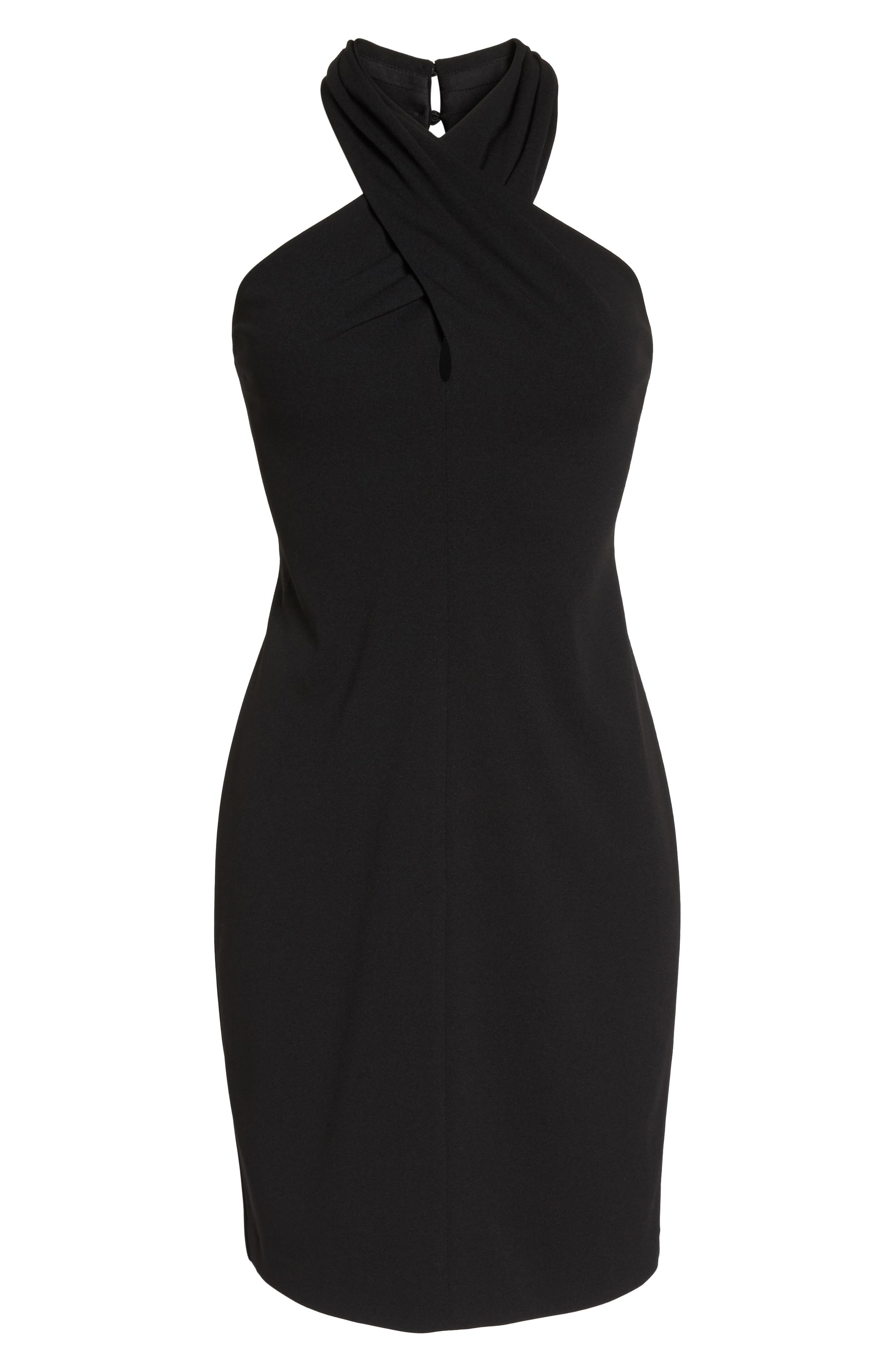 Halter Sheath Dress,                             Alternate thumbnail 6, color,                             BLACK