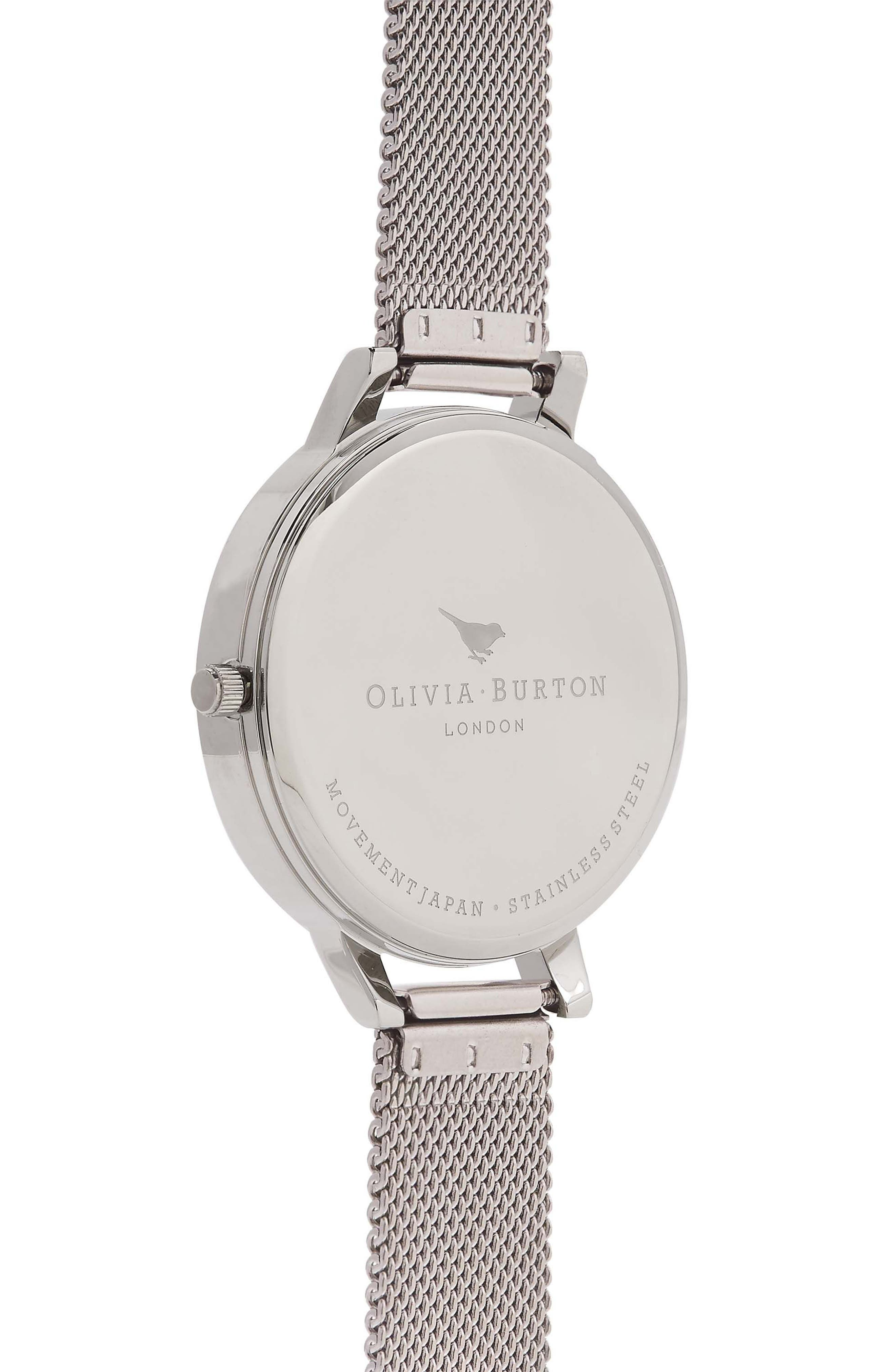 Mesh Strap Watch, 38mm,                             Alternate thumbnail 3, color,                             SILVER/ WHITE/ ROSE GOLD