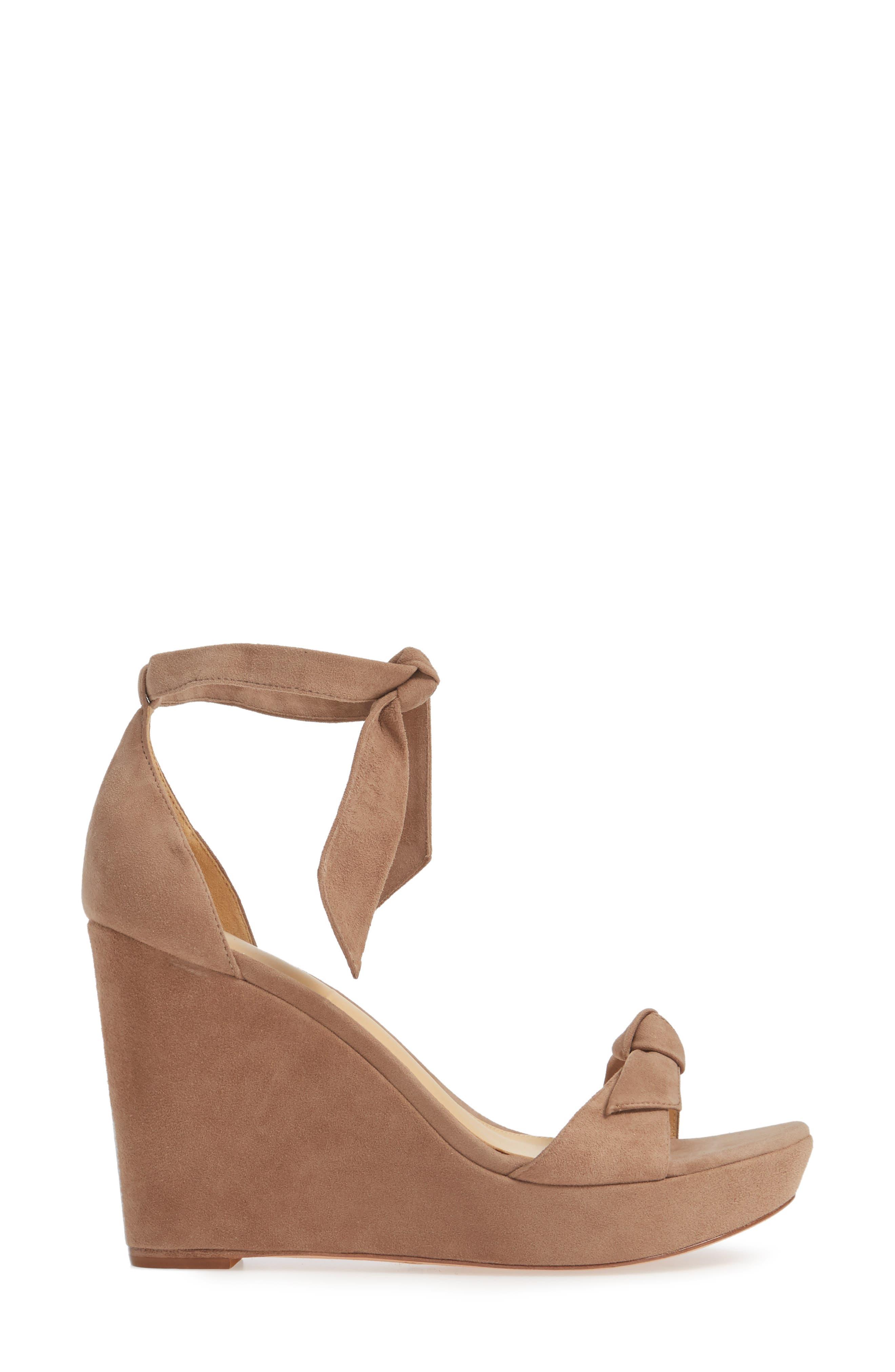 Clarita Platform Wedge Sandal,                             Alternate thumbnail 3, color,                             CAMEO SUEDE