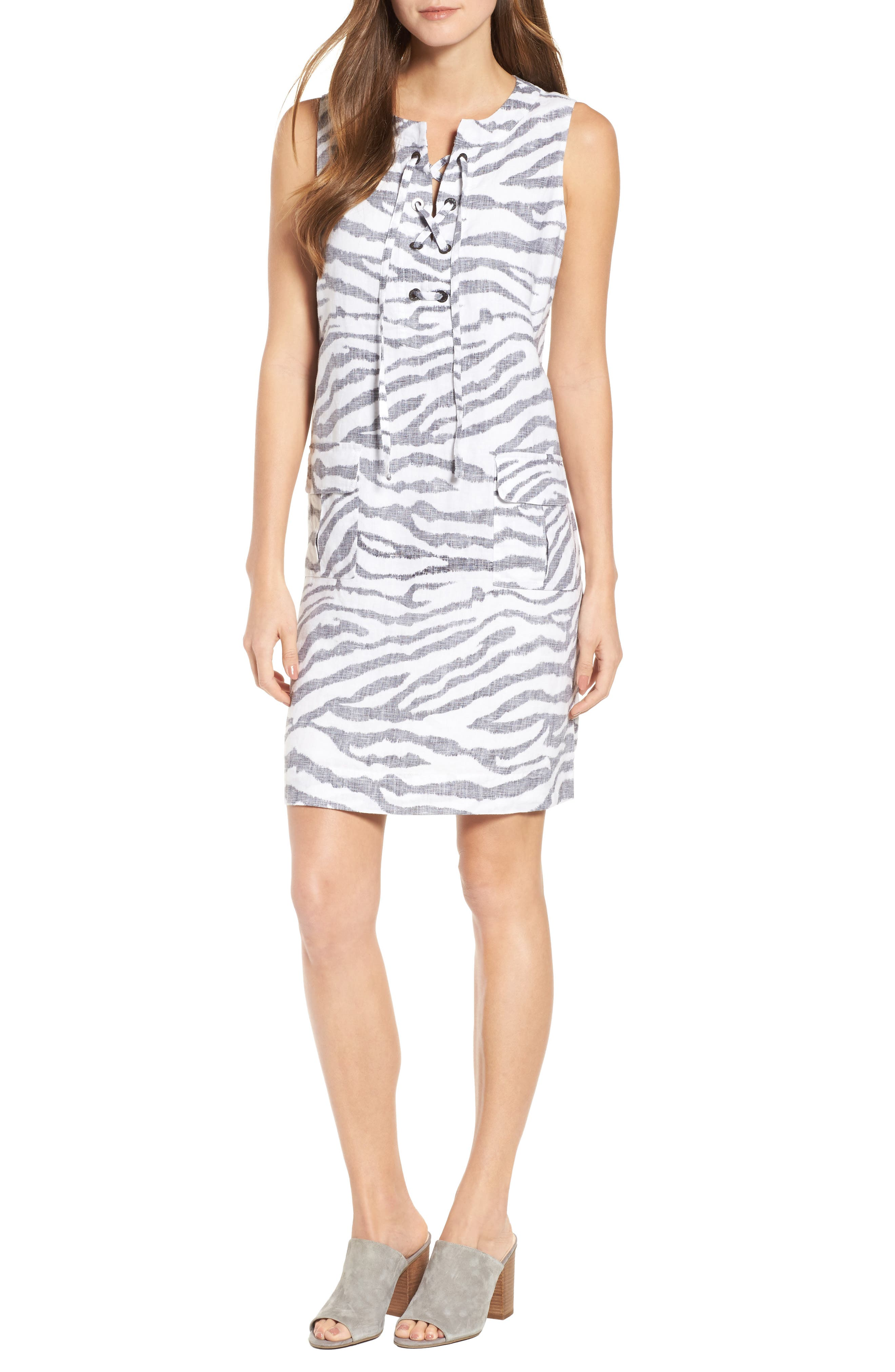 Zebra Taunt Shift Dress,                             Main thumbnail 1, color,                             001