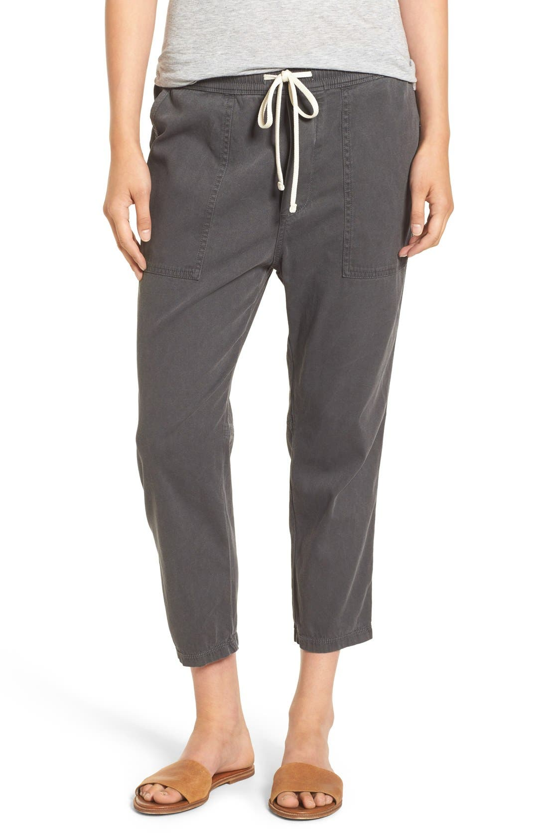 Relaxed Crop Twill Pants,                             Main thumbnail 1, color,                             203