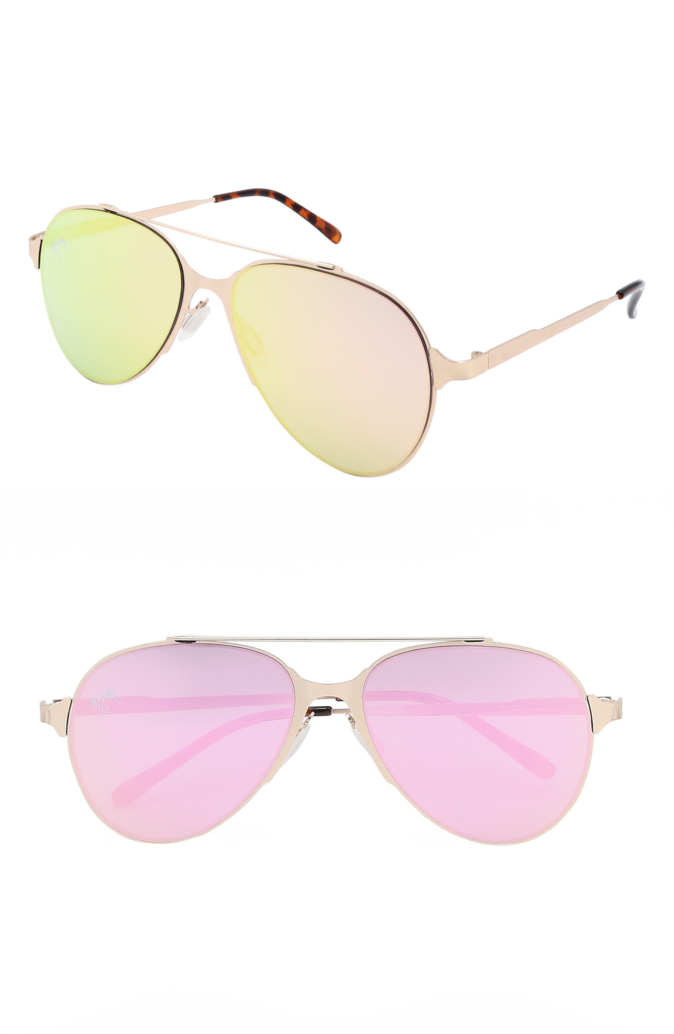 Nem 55Mm Mirrored Aviator Sunglasses - Rose Gold W Rose Gold Lens