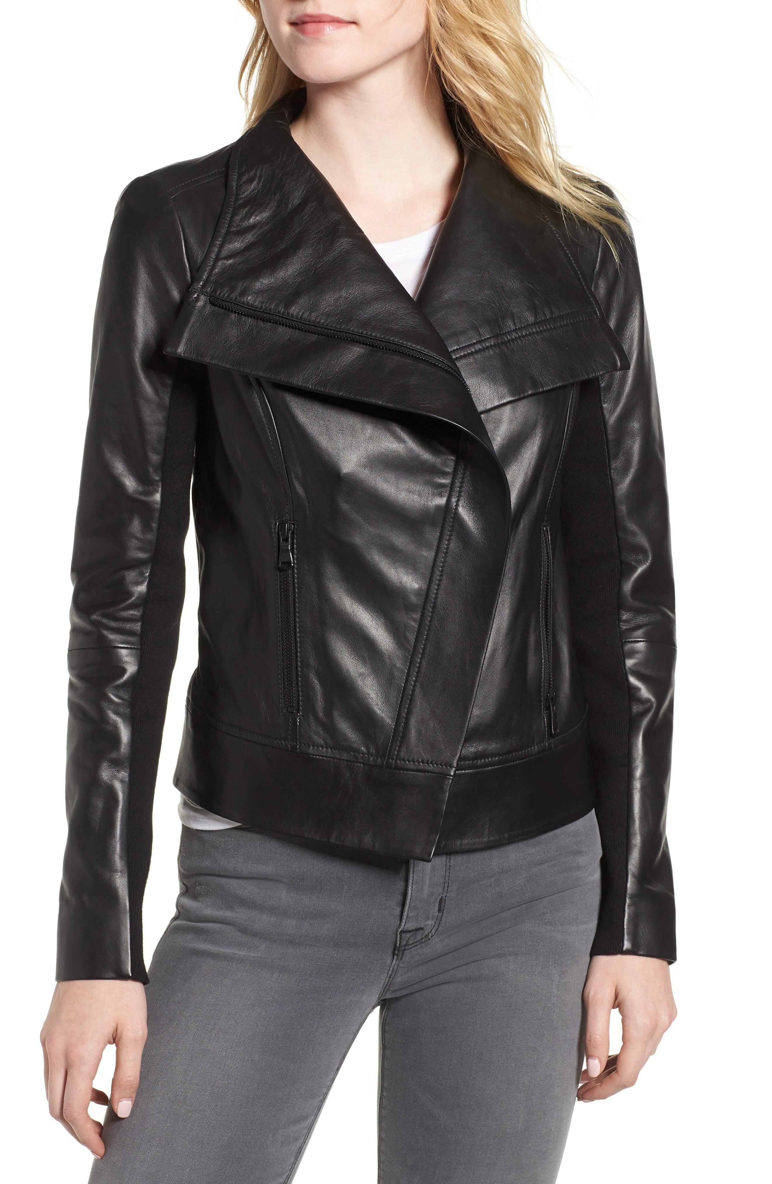 Drape Front Leather Jacket,                             Alternate thumbnail 4, color,                             BLACK