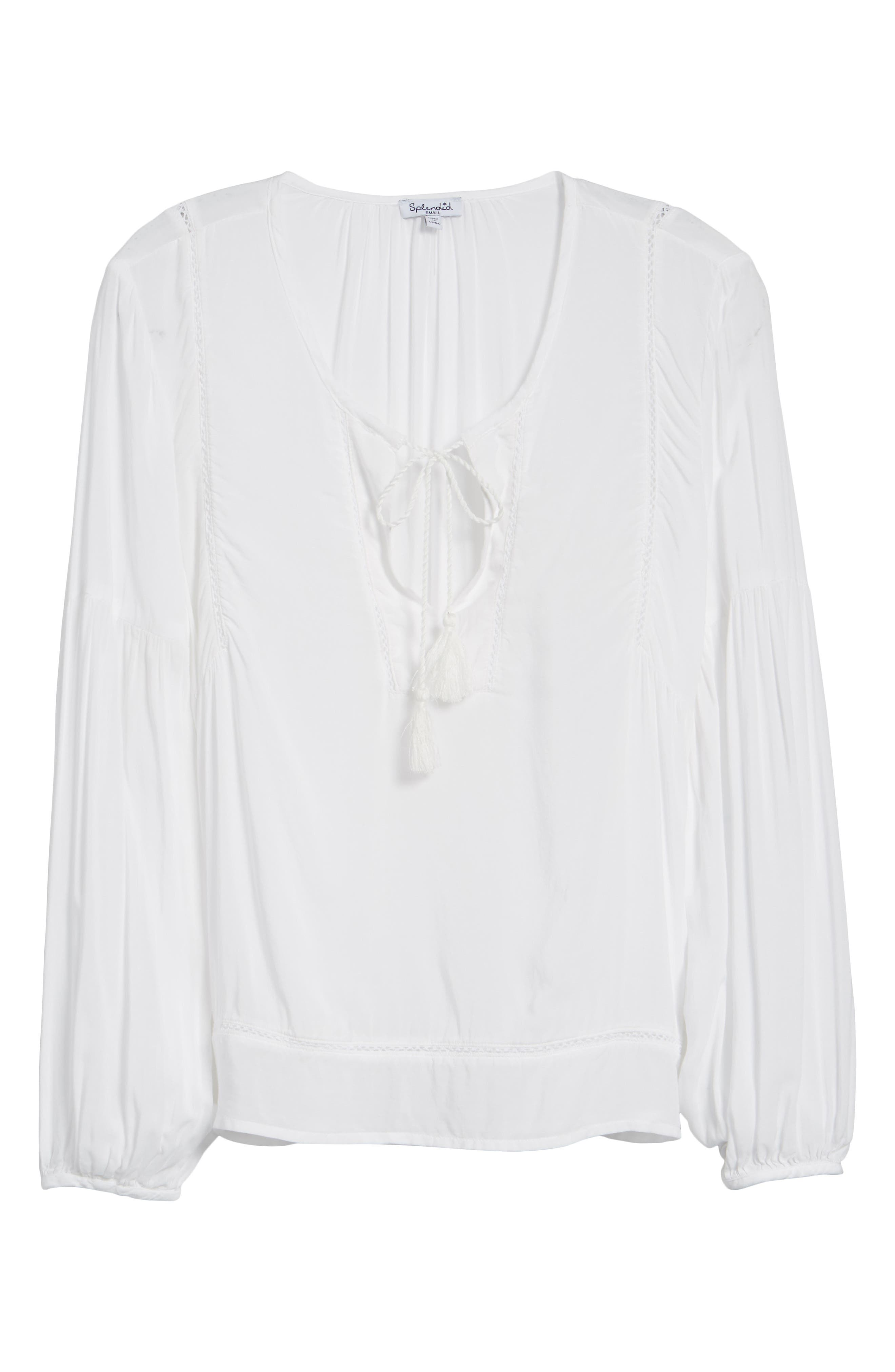 Tassel Woven Blouse,                             Alternate thumbnail 6, color,                             100