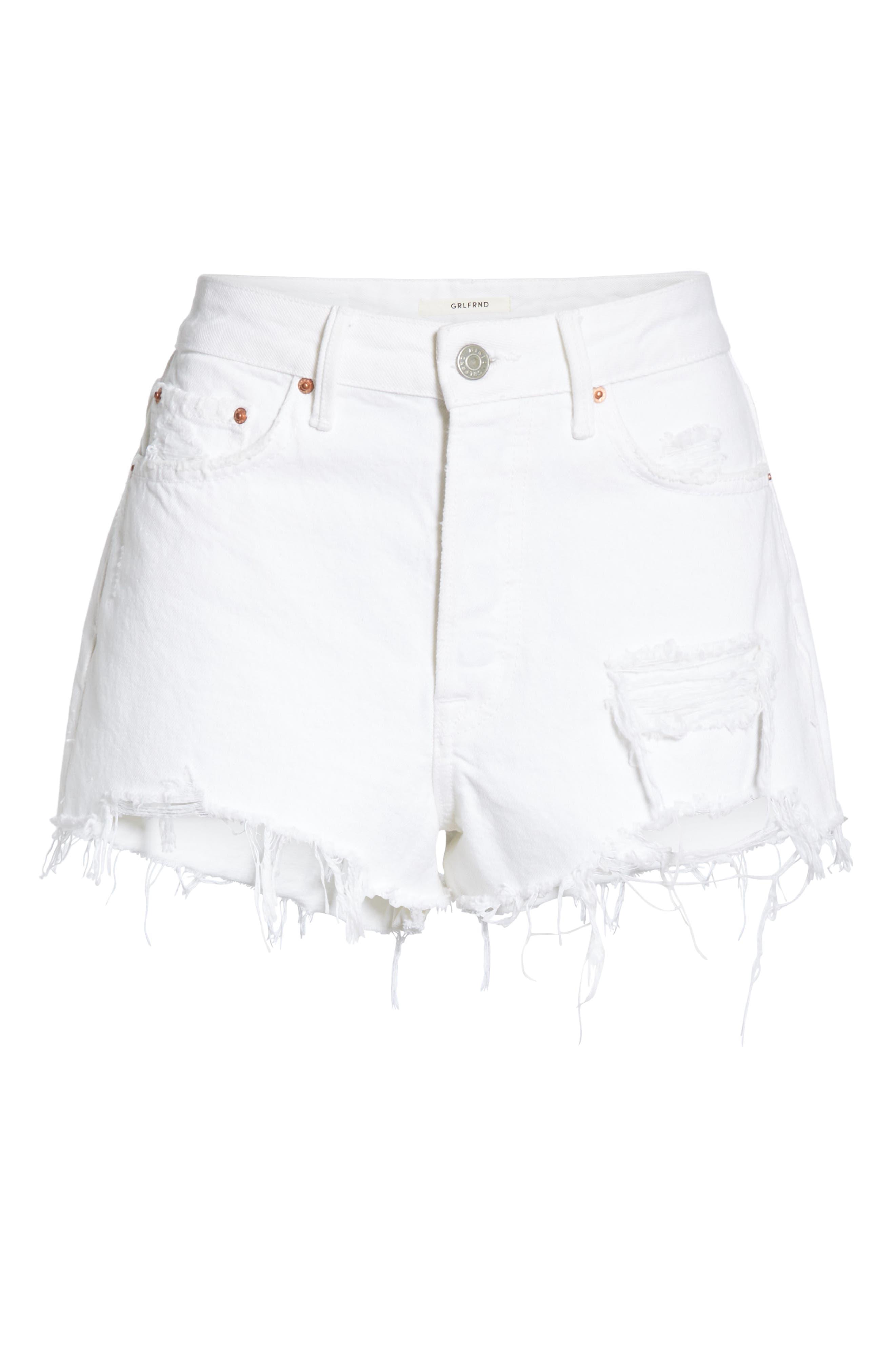 Cindy Rigid High Waist Denim Shorts,                             Alternate thumbnail 6, color,                             GRANADA