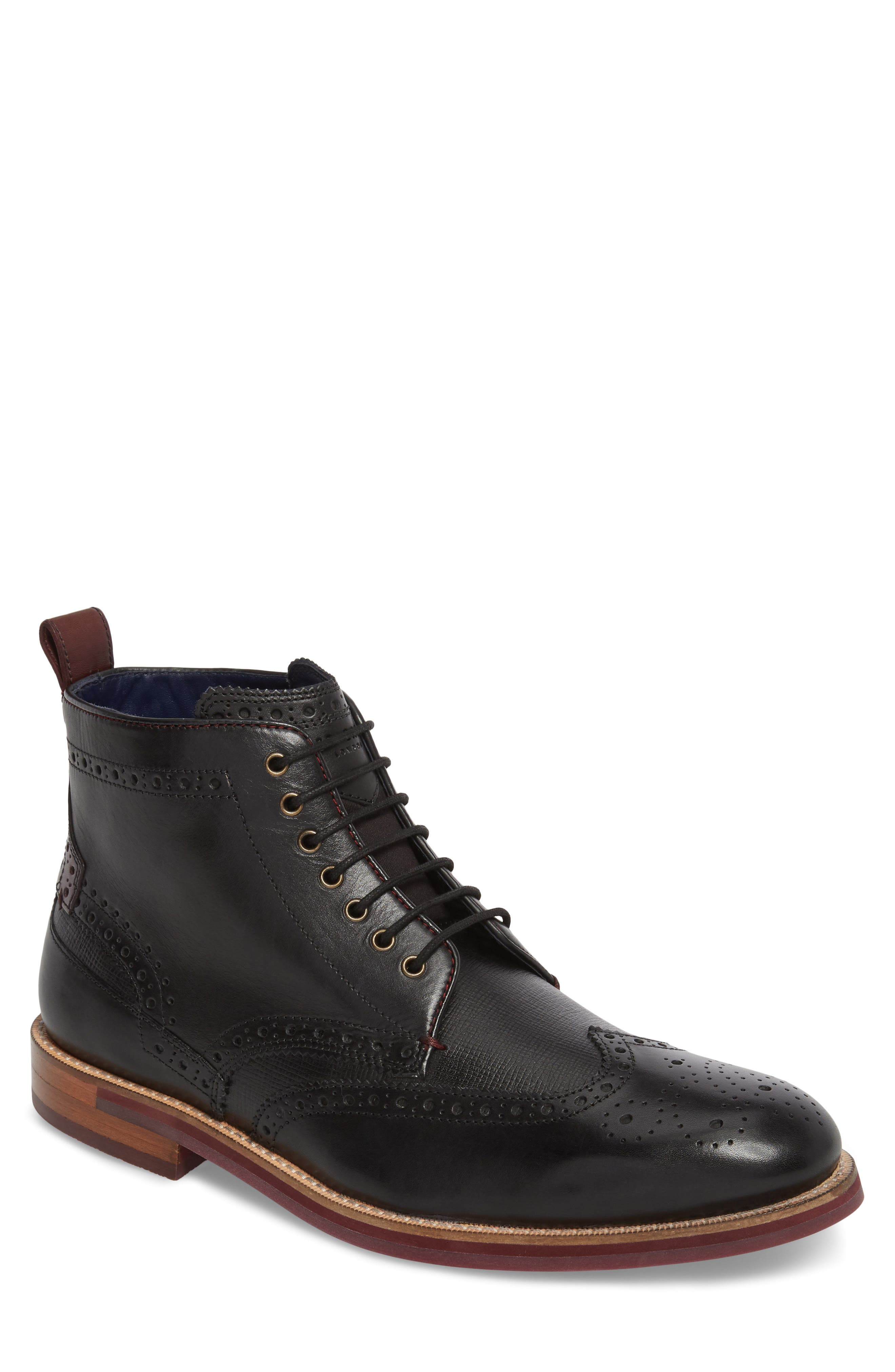 TED BAKER LONDON Hjenno Wingtip Boot, Main, color, 001