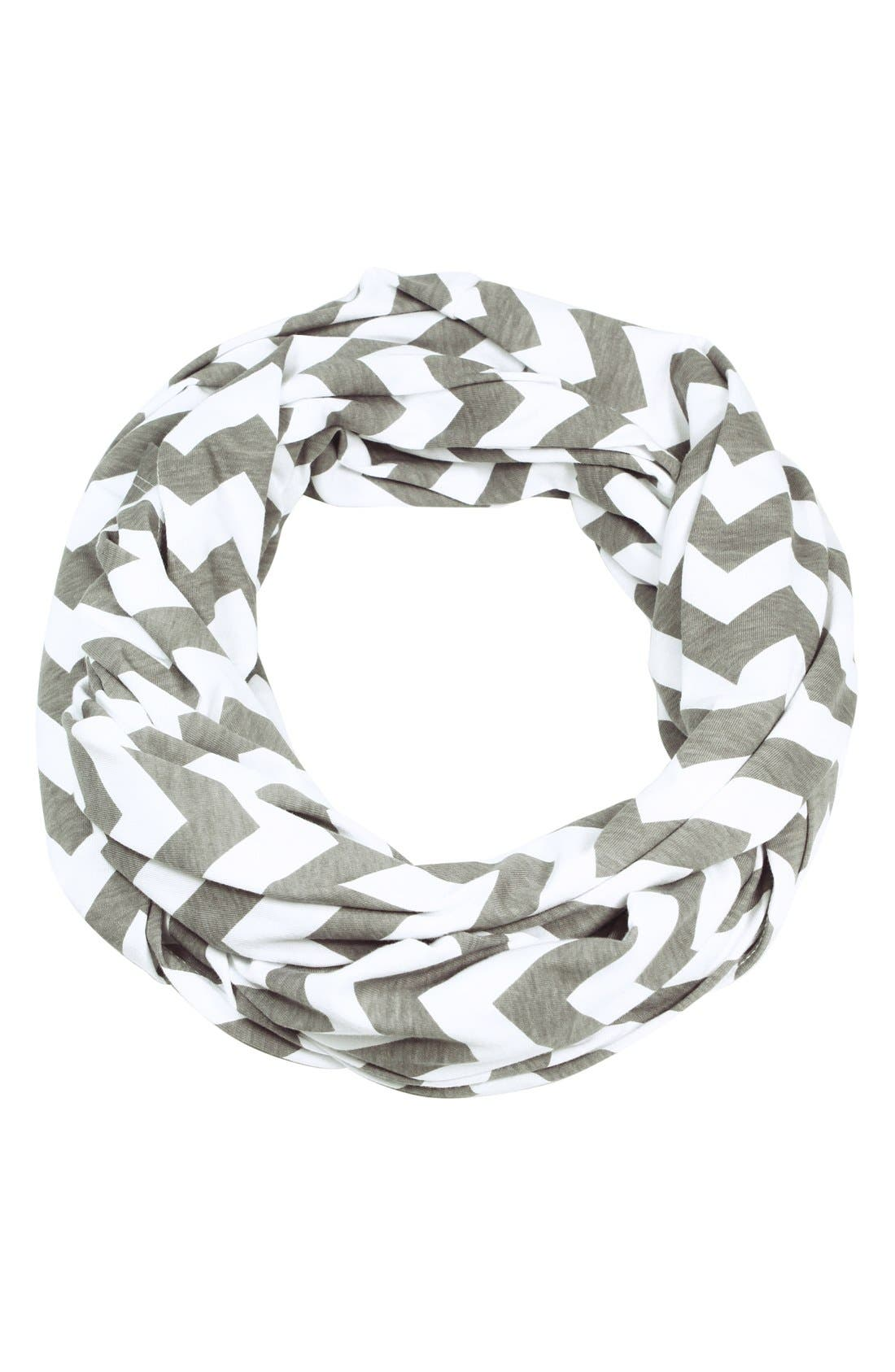 Infinity Nursing Scarf,                             Main thumbnail 1, color,                             GREY/ WHITE