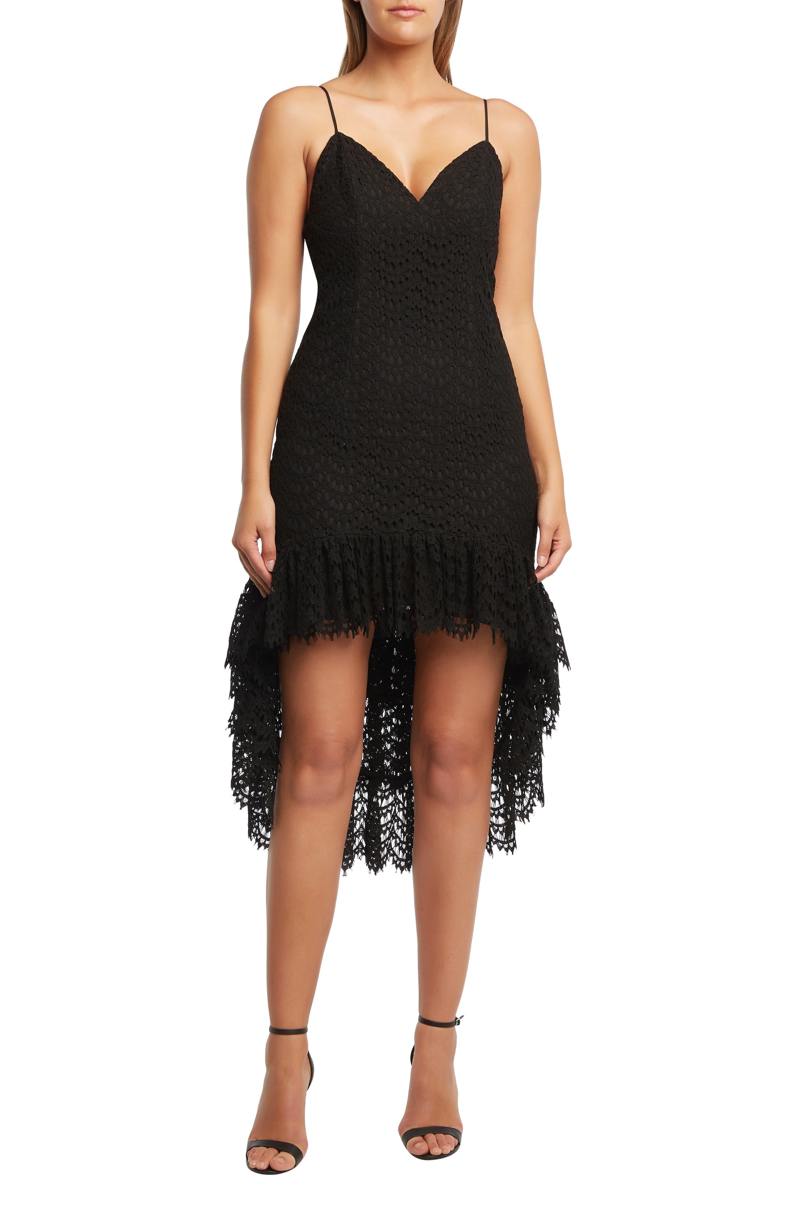 Bardot Lace High/low Cocktail Dress, Black