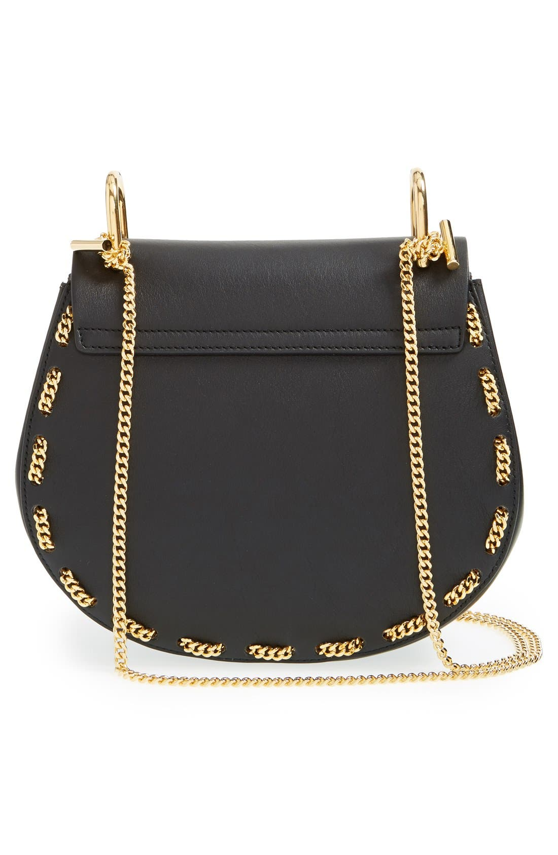 'Small Drew' Leather & Chain Link Crossbody Bag,                             Alternate thumbnail 5, color,                             001