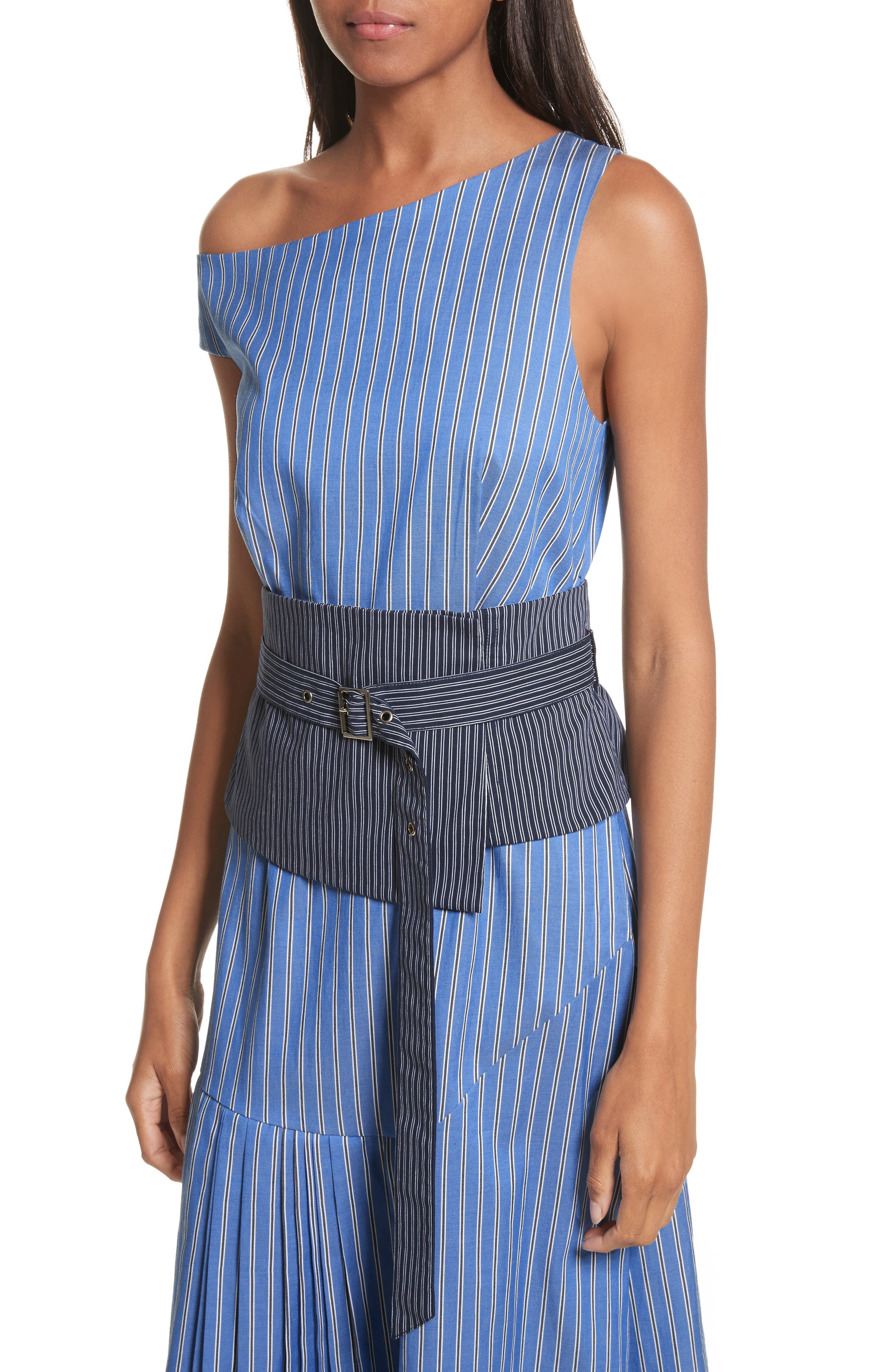 Belted Asymmetrical Midi Dress,                             Alternate thumbnail 4, color,                             402
