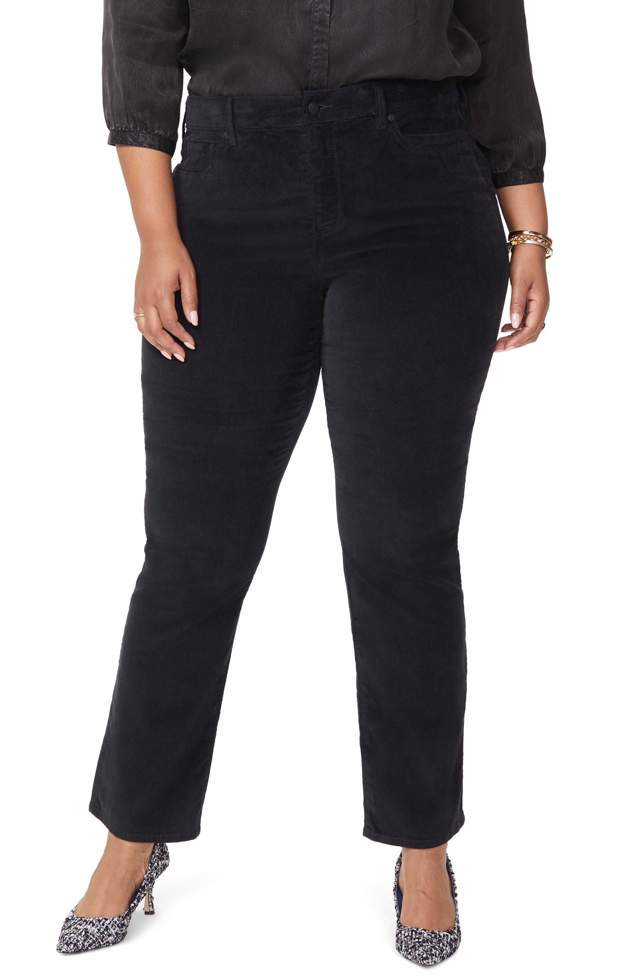 Marilyn Straight Leg Stretch Velvet Pants,                         Main,                         color, BLACK