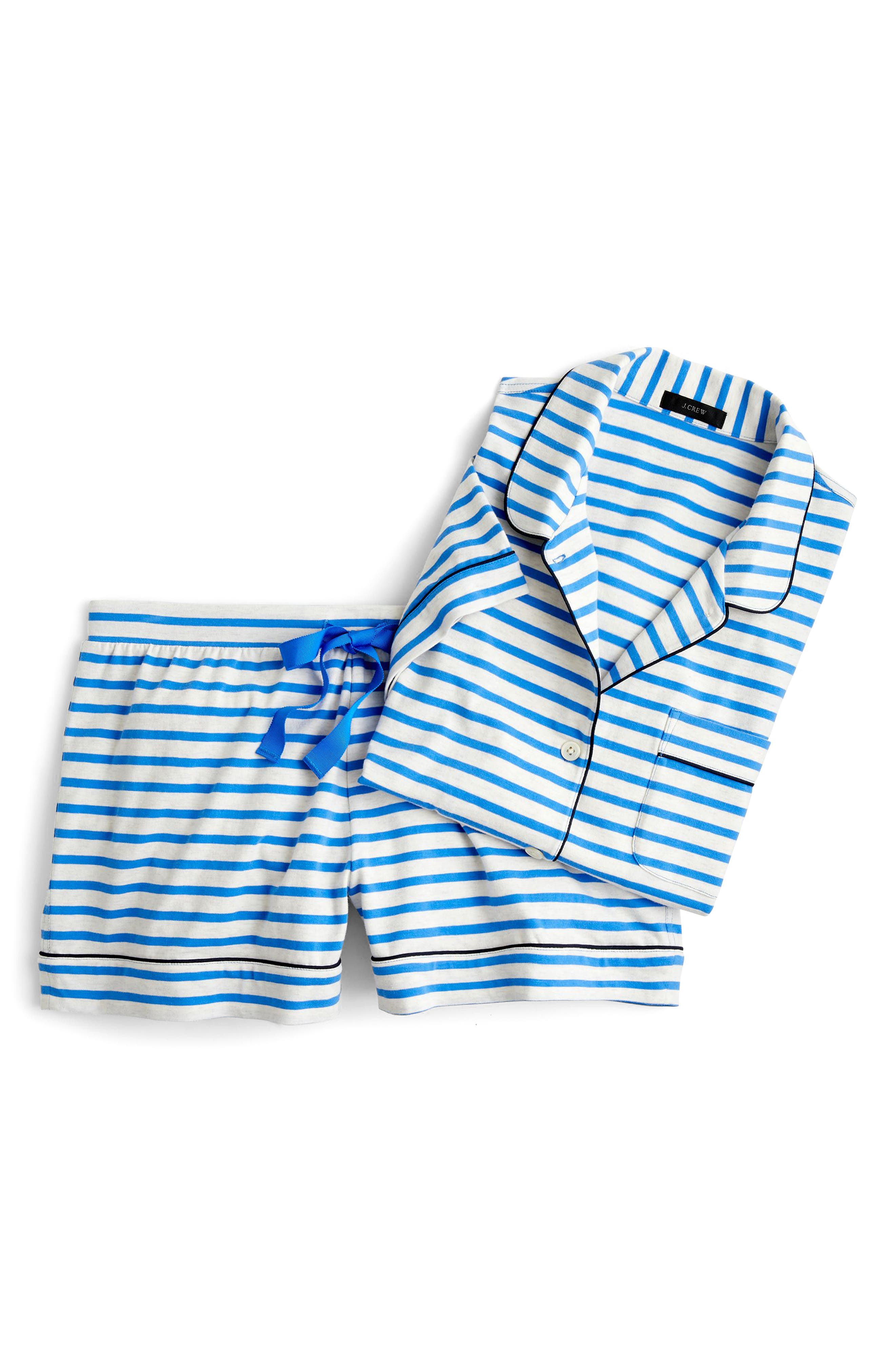 Dreamy Striped Short Pajamas,                             Main thumbnail 1, color,                             HEATHER BLUE