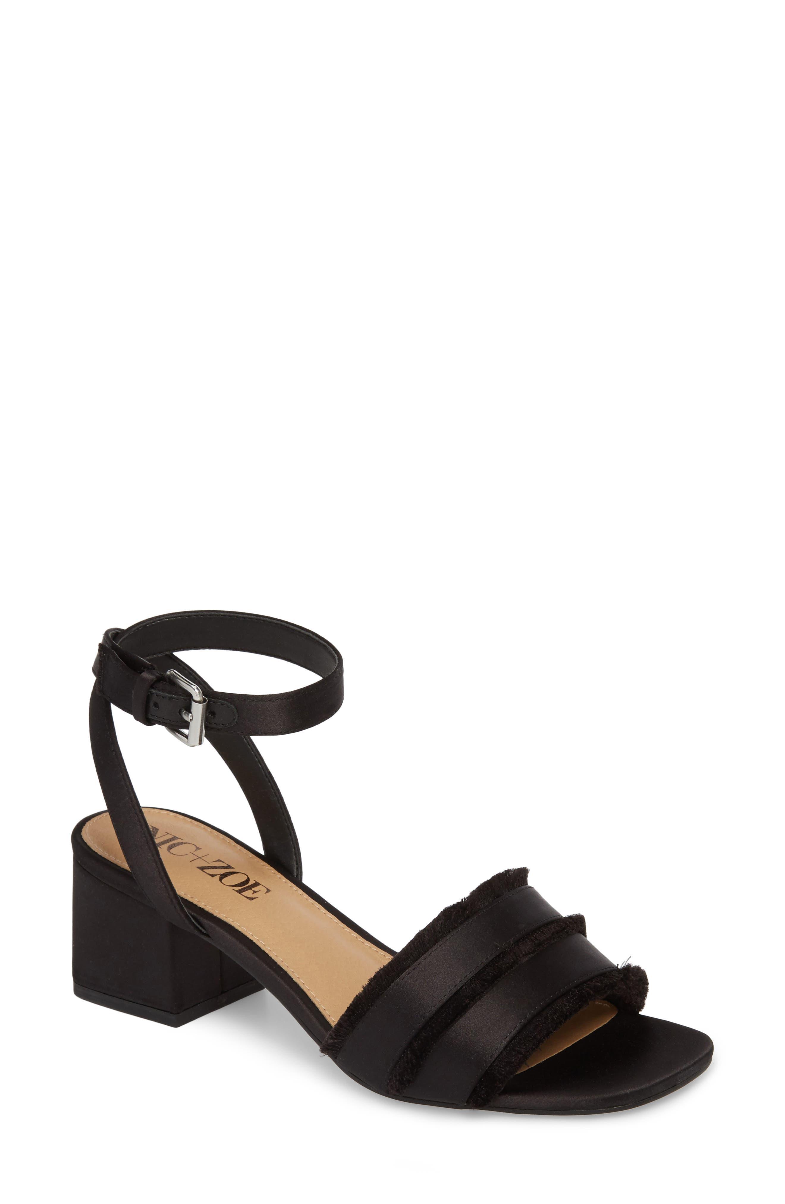 Zaria Fringed Sandal,                             Main thumbnail 1, color,                             BLACK SATIN