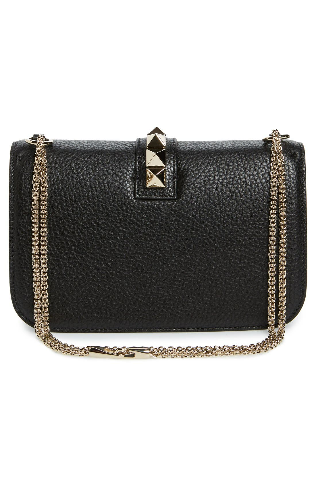 Medium Lock Studded Leather Shoulder Bag,                             Alternate thumbnail 3, color,                             NERO