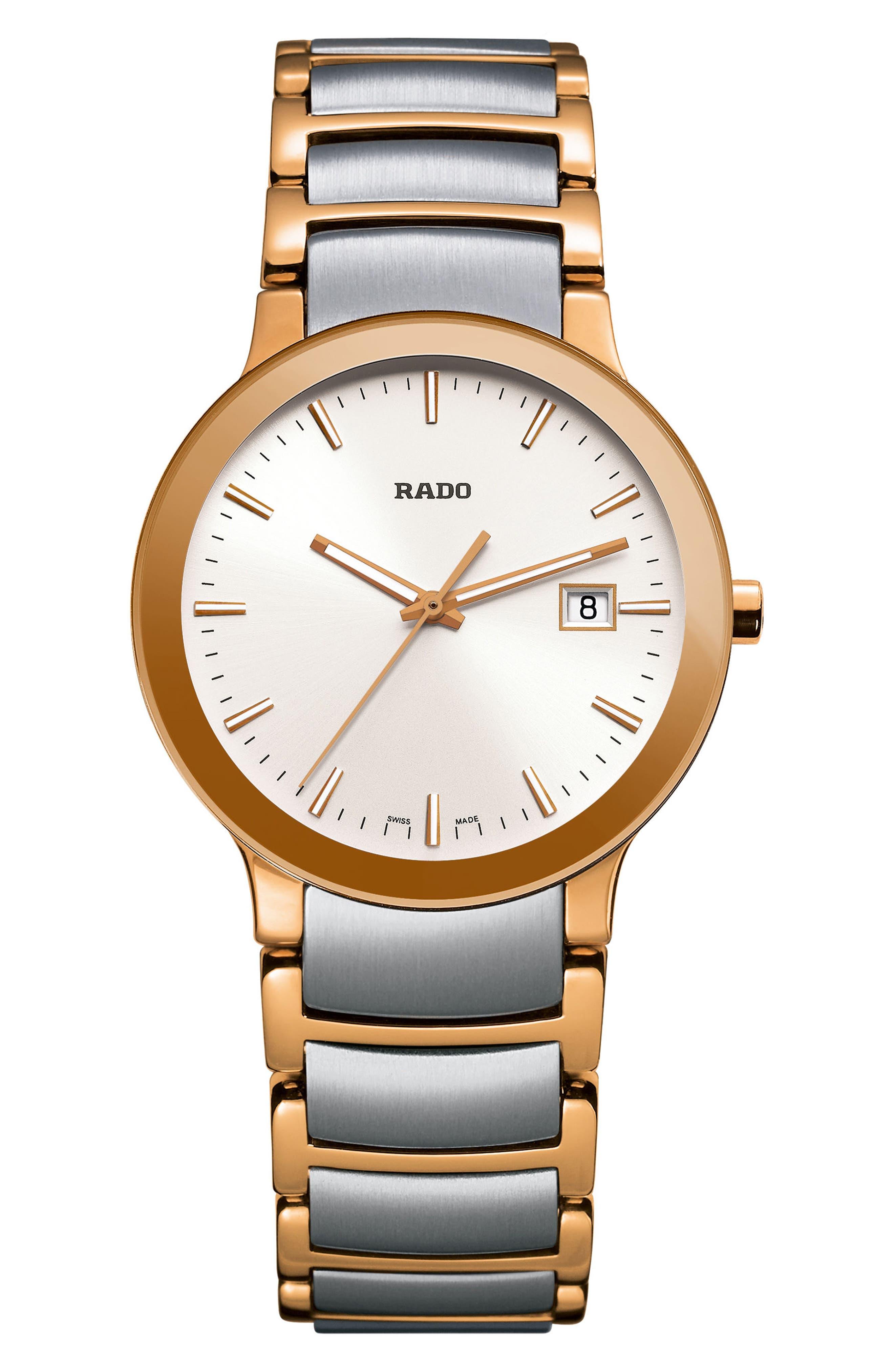 Centrix Bracelet Watch, 28mm,                             Main thumbnail 1, color,                             SILVER/ ROSE GOLD
