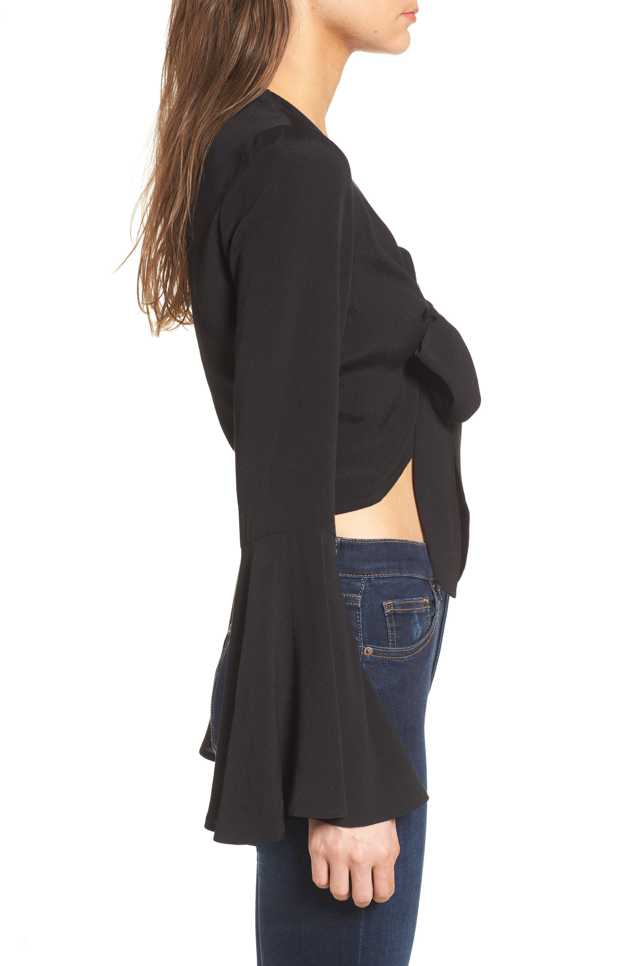 Tie Front Bell Sleeve Top,                             Alternate thumbnail 3, color,                             001