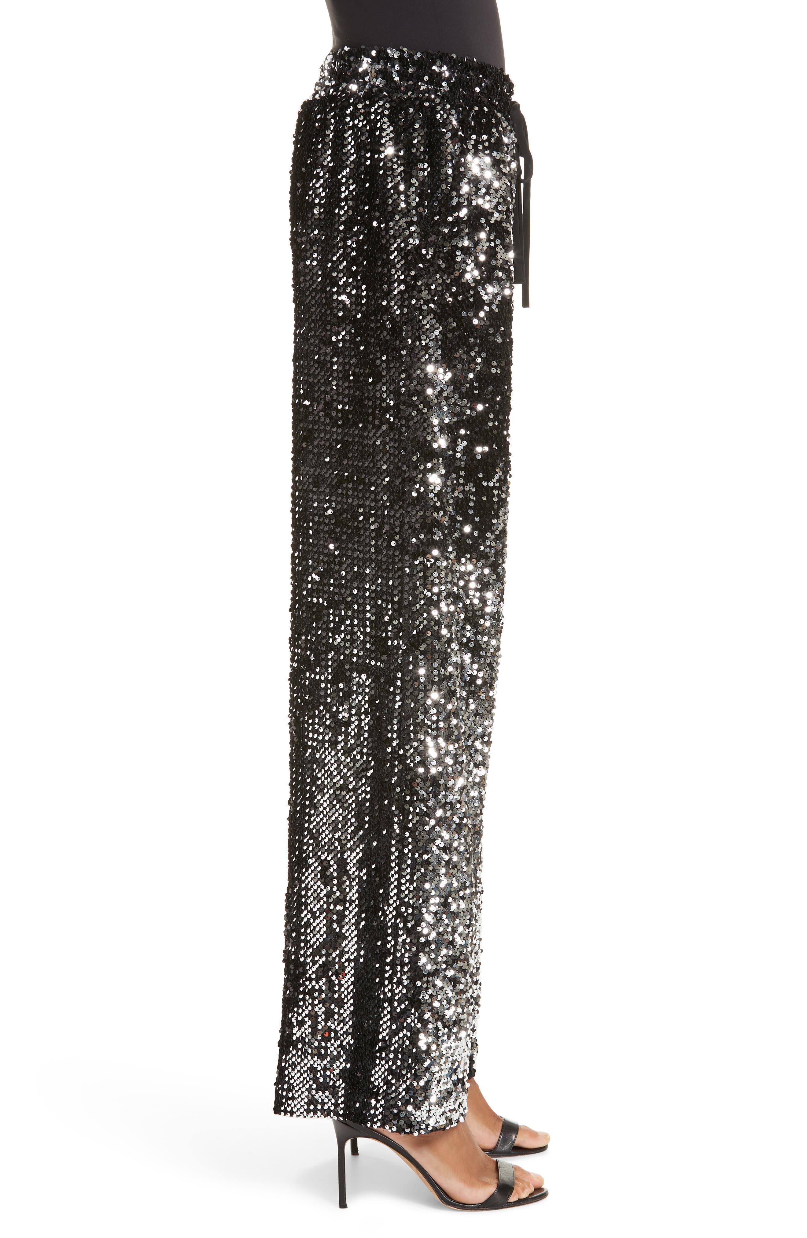 Sequin Wide Leg Track Pants,                             Alternate thumbnail 3, color,                             SILVER