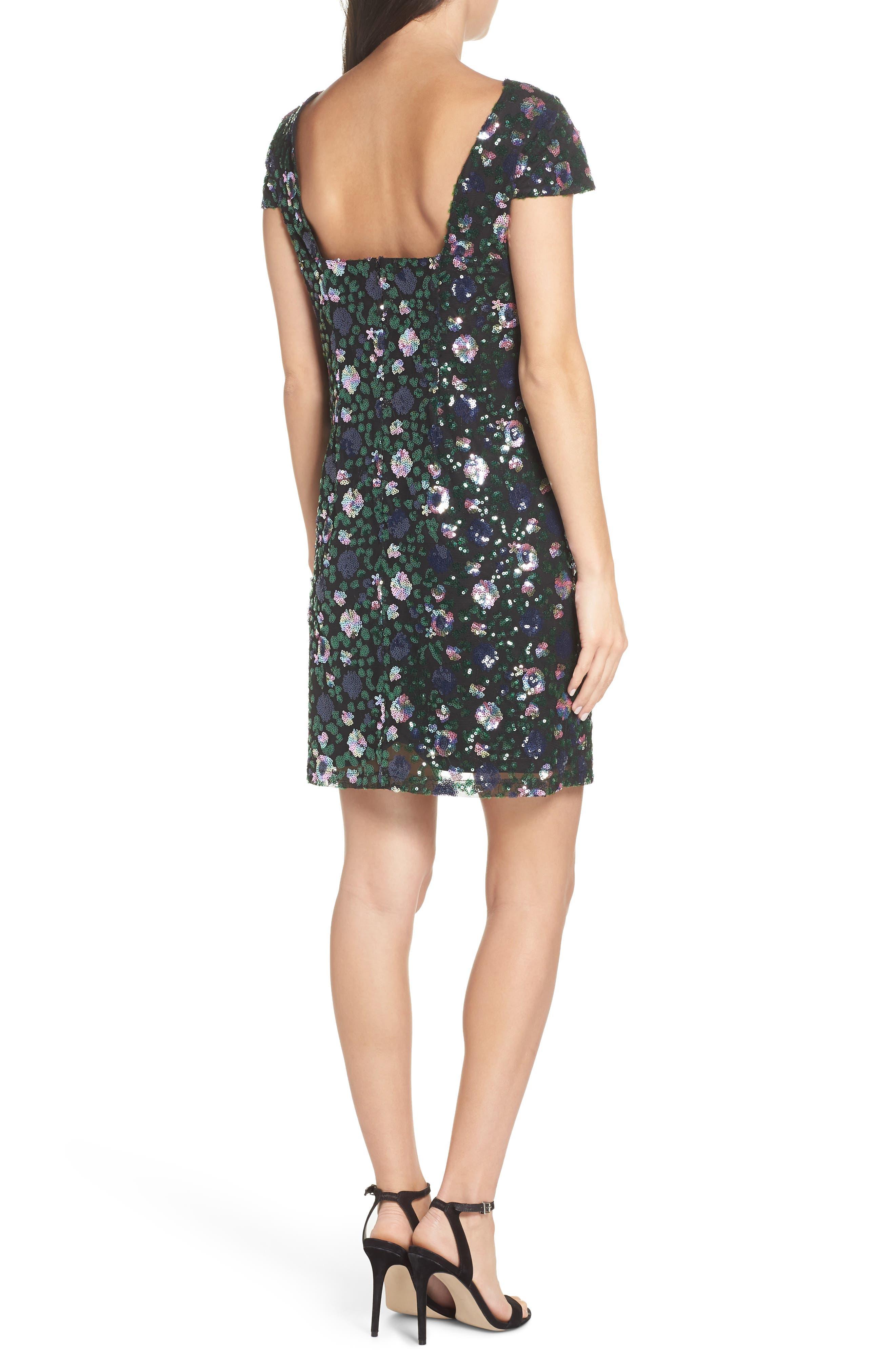 Floral Sequin Sheath Dress,                             Alternate thumbnail 2, color,                             PURPLE/ GREEN