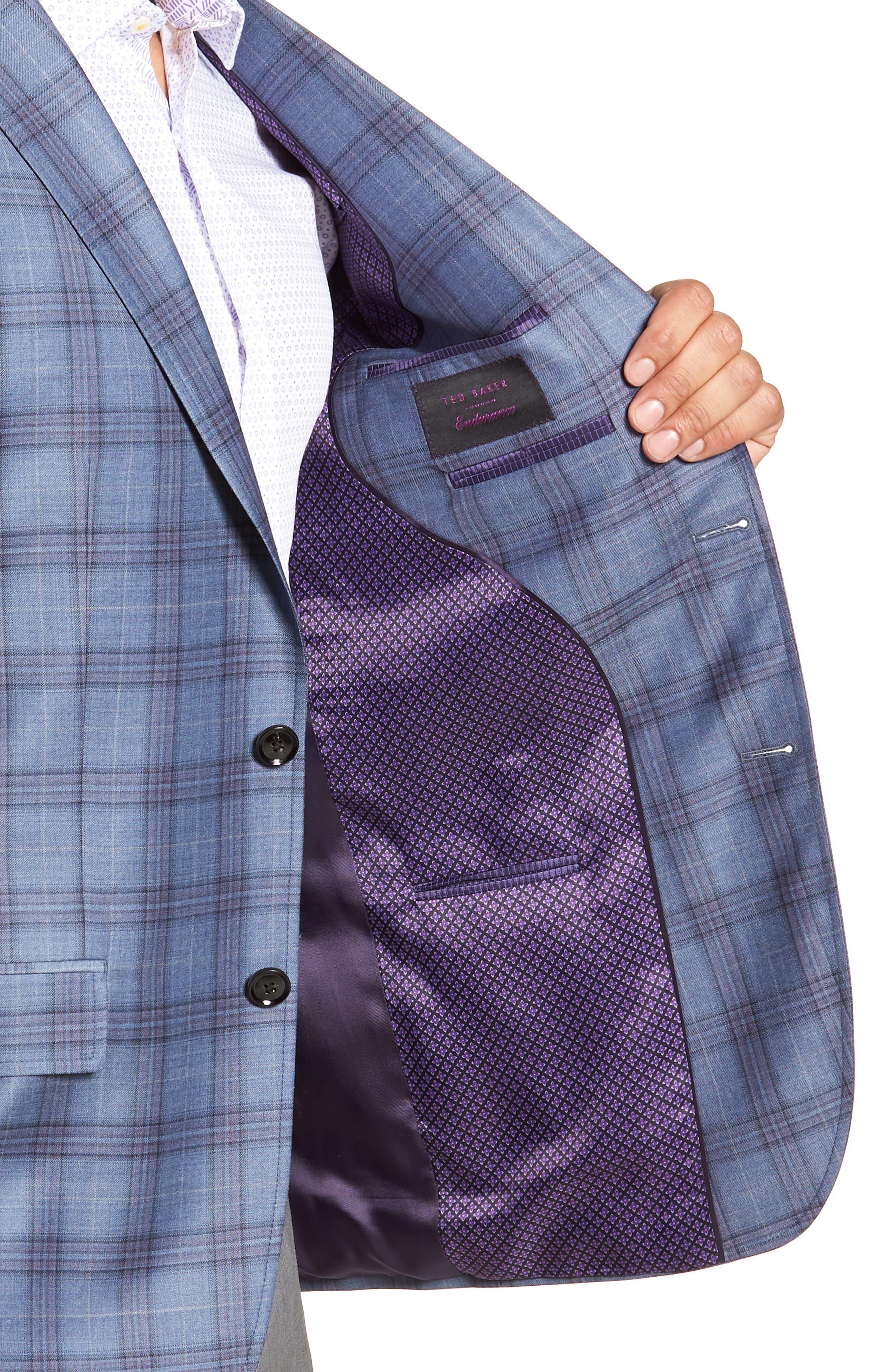 Jay Trim Fit Plaid Wool Sport Coat,                             Alternate thumbnail 4, color,                             400