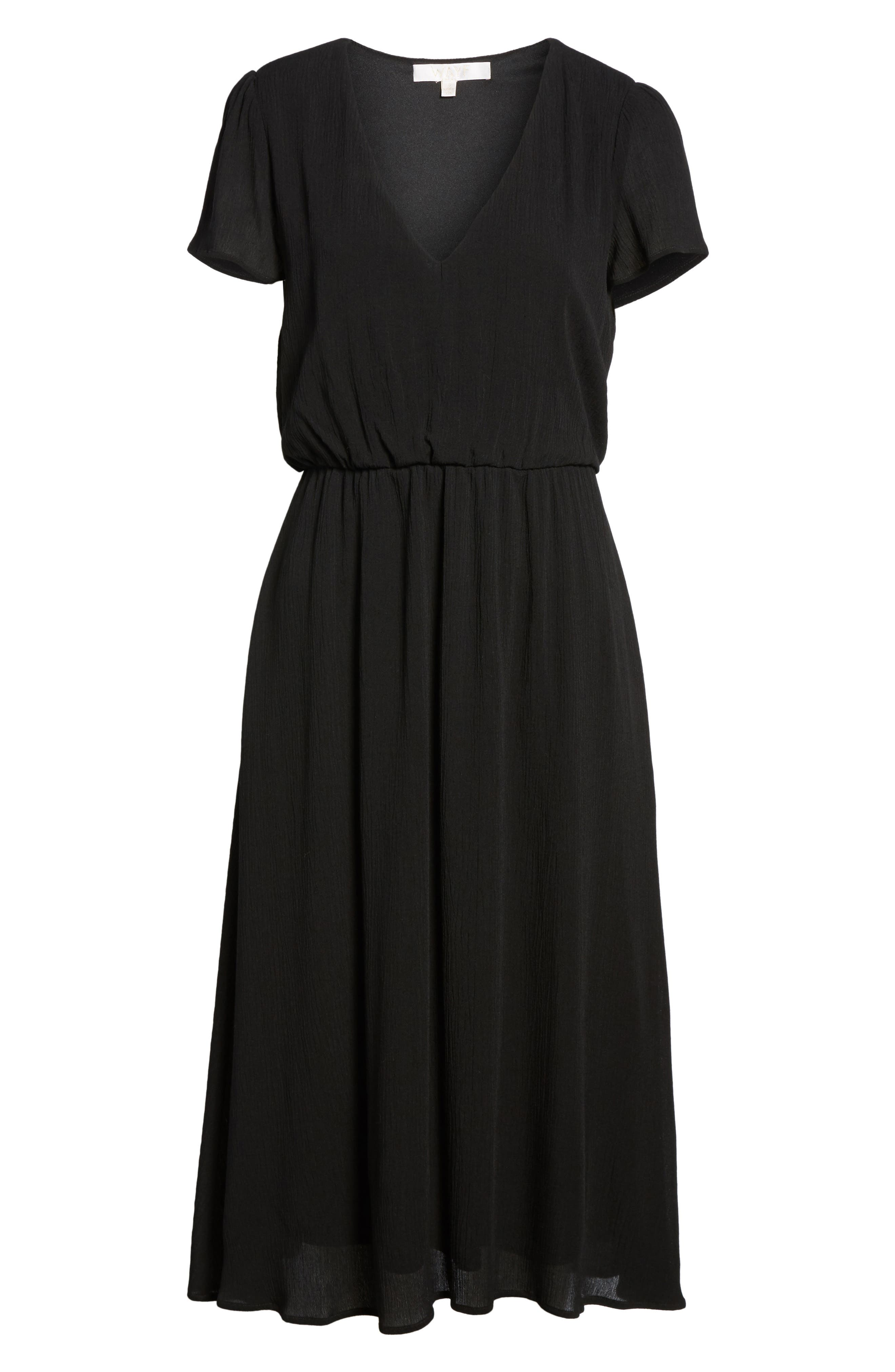 WAYF,                             Blouson Midi Dress,                             Alternate thumbnail 7, color,                             BLACK