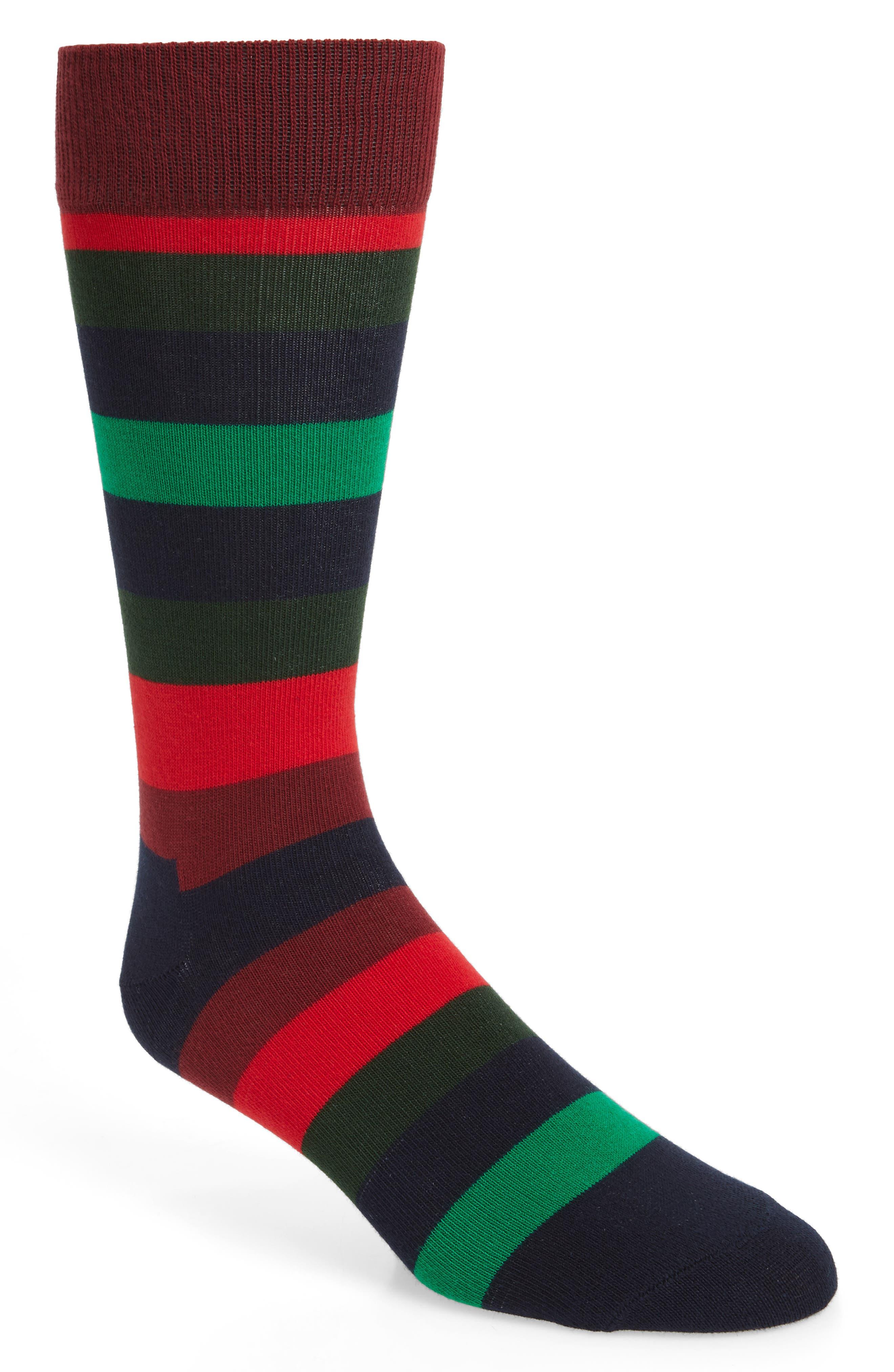 Holiday Stripe Socks,                             Main thumbnail 1, color,                             BLACK